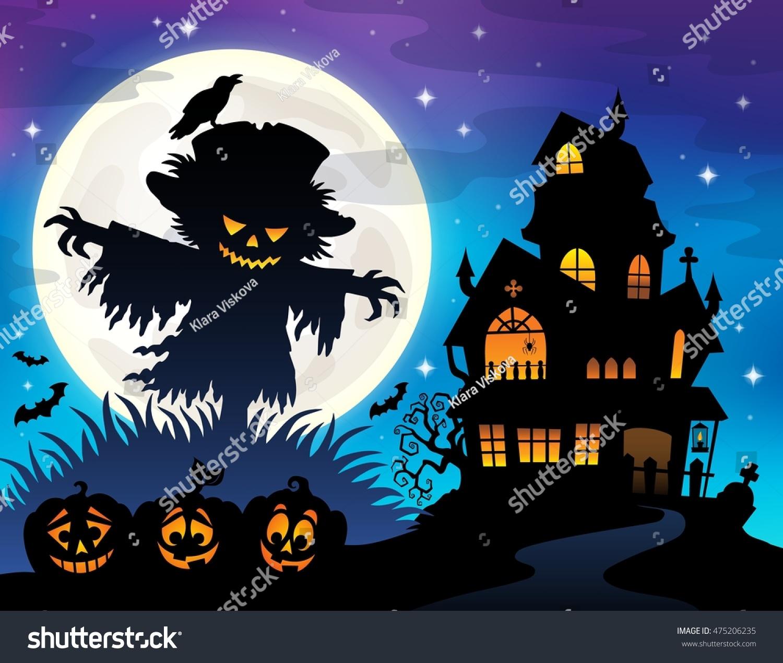 halloween scarecrow silhouette theme 1 eps10 vector illustration - Halloween Scare Crow