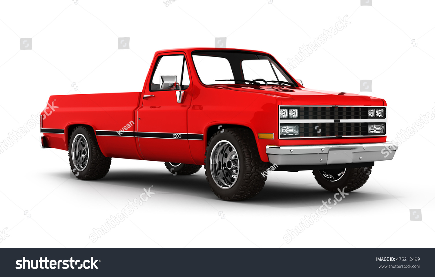 Red Pickup Truck Isolated On White Stock Illustration 475212499 ...