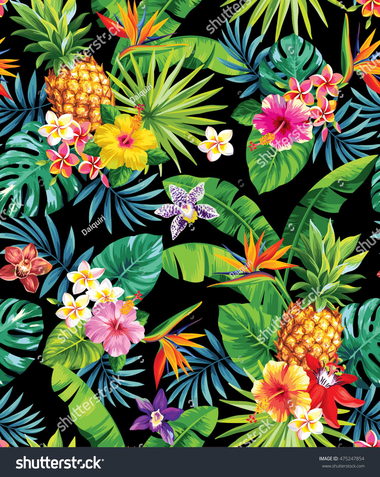 seamless tropical pattern pineapples palm leaves stock vector