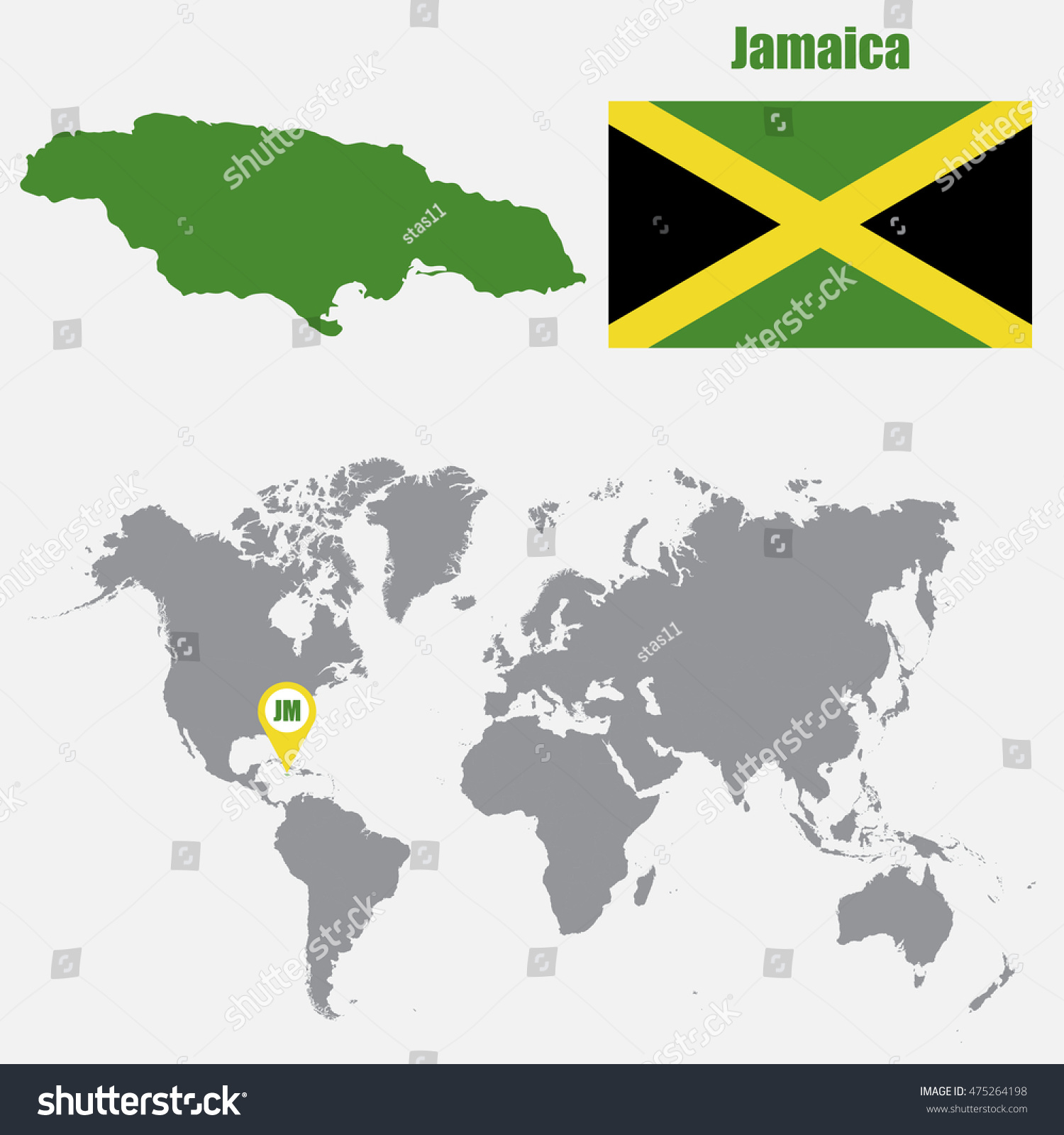 Jamaica Map On World Map Flag Stock Vector Shutterstock - World map jamaica