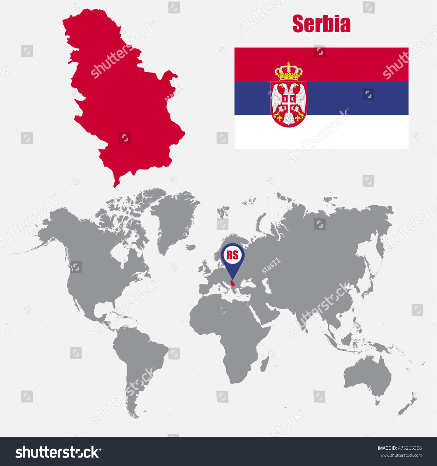 Serbia Map On World Map Flag Stock Vector 475265356 Shutterstock