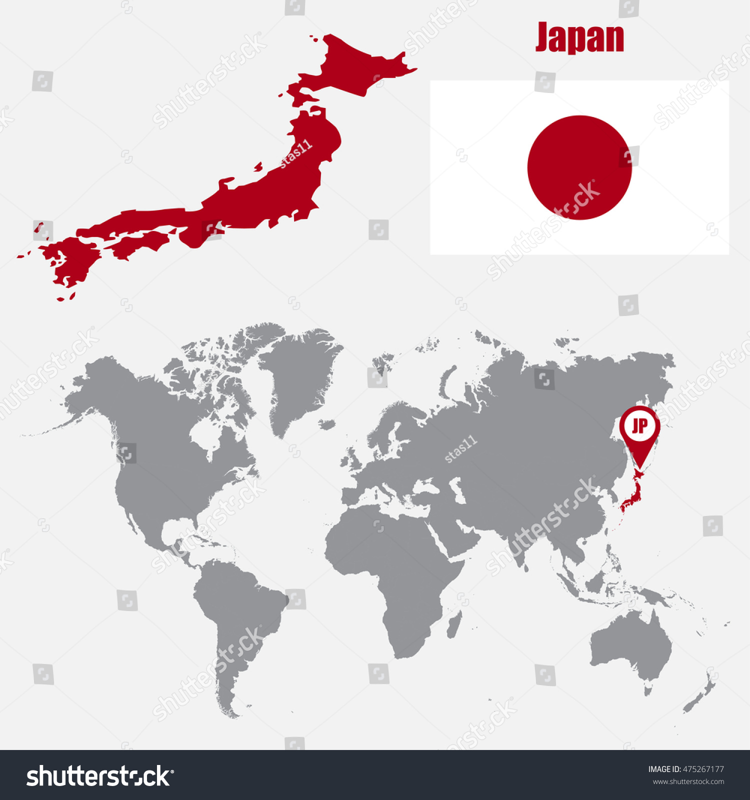 Japan Map On World Map Flag Stock Vector Shutterstock - Japan map in world map