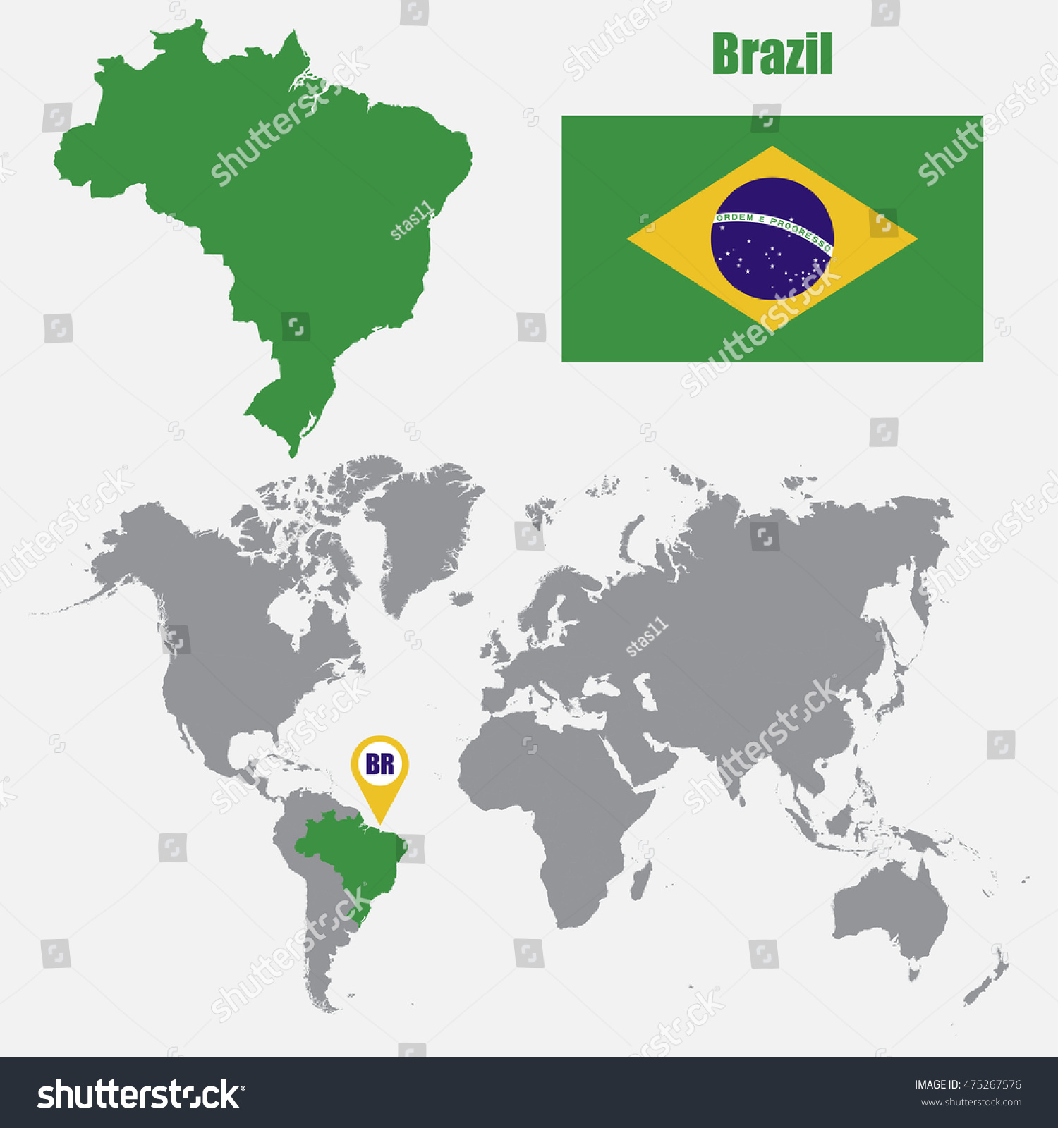 brazil map on a world map with flag and map pointer vector illustration