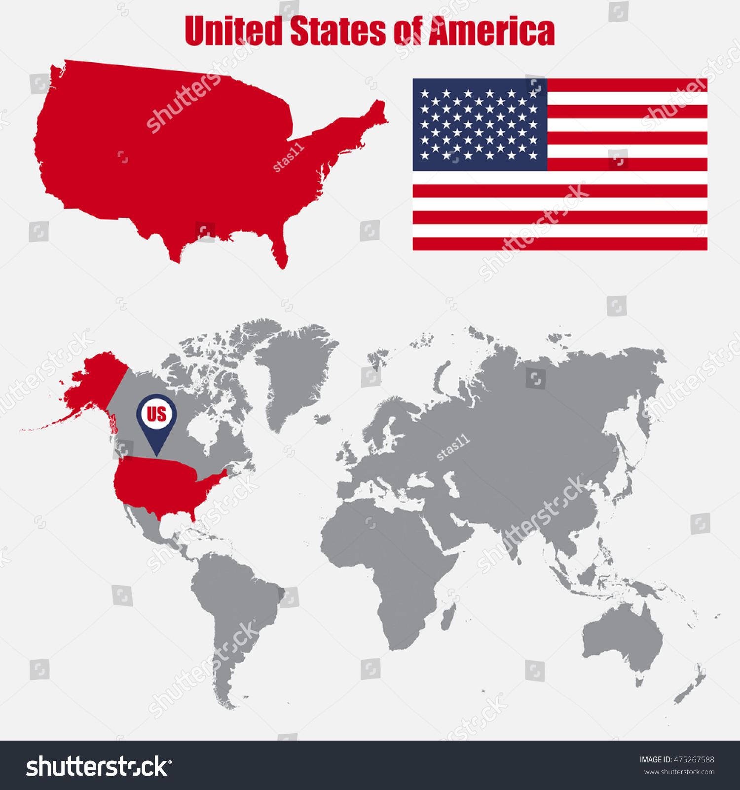 Usa Map On World Map Flag Stock Vector Shutterstock - Usa map world