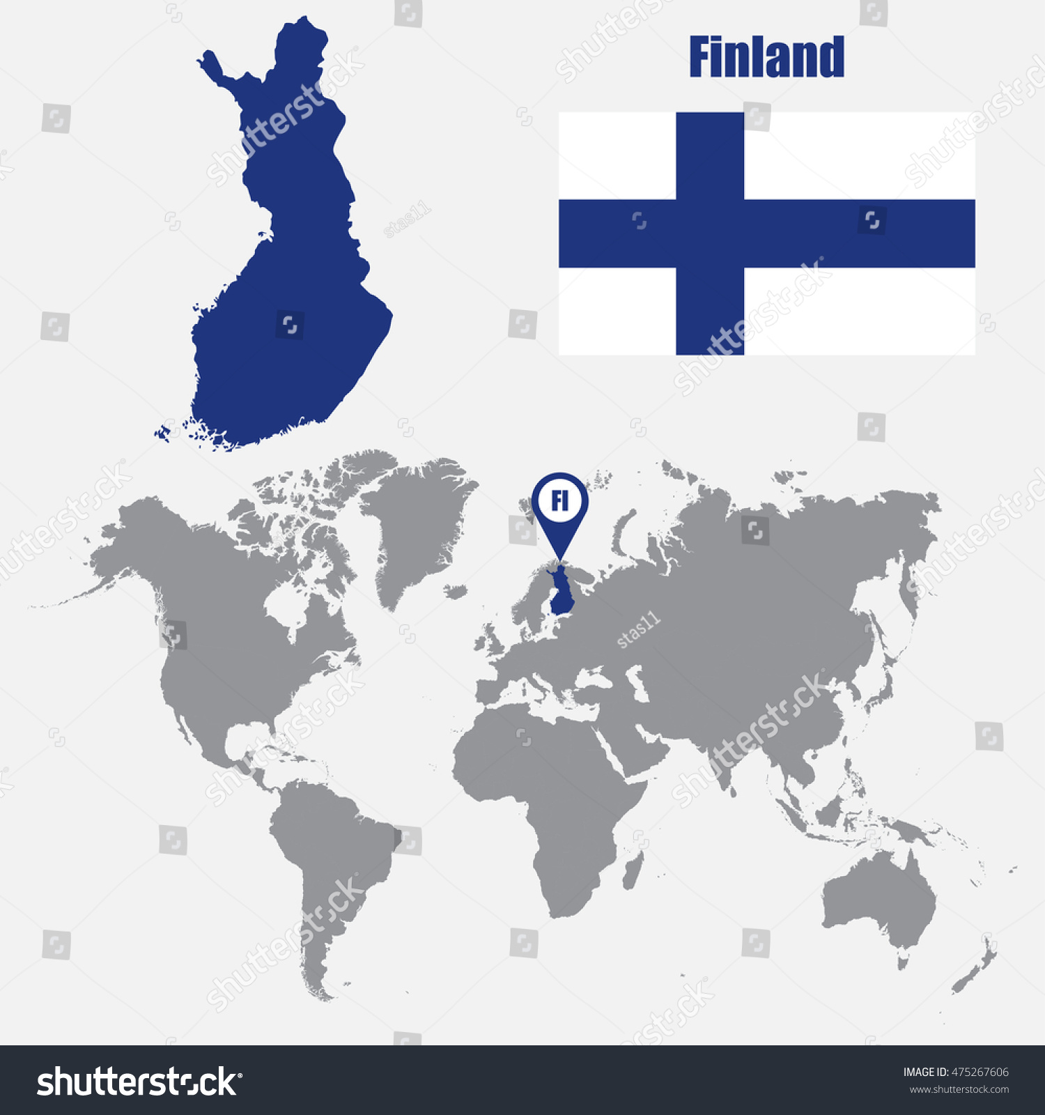 Finland Map On World Map Flag Stock Vector (Royalty Free) 475267606 ...