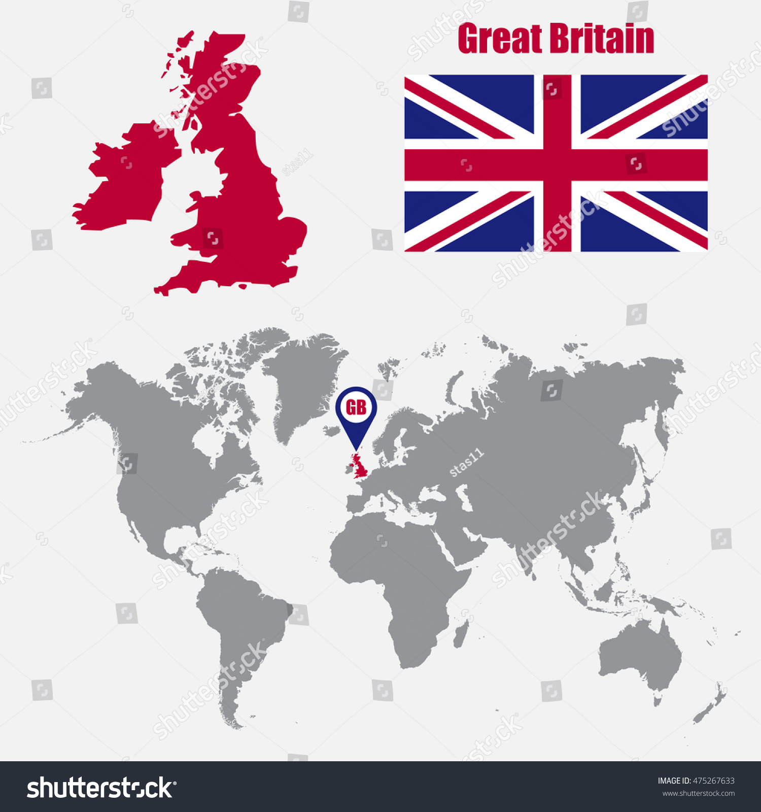 Uk In World Map.Uk Map On World Map Flag Stock Vector Royalty Free 475267633