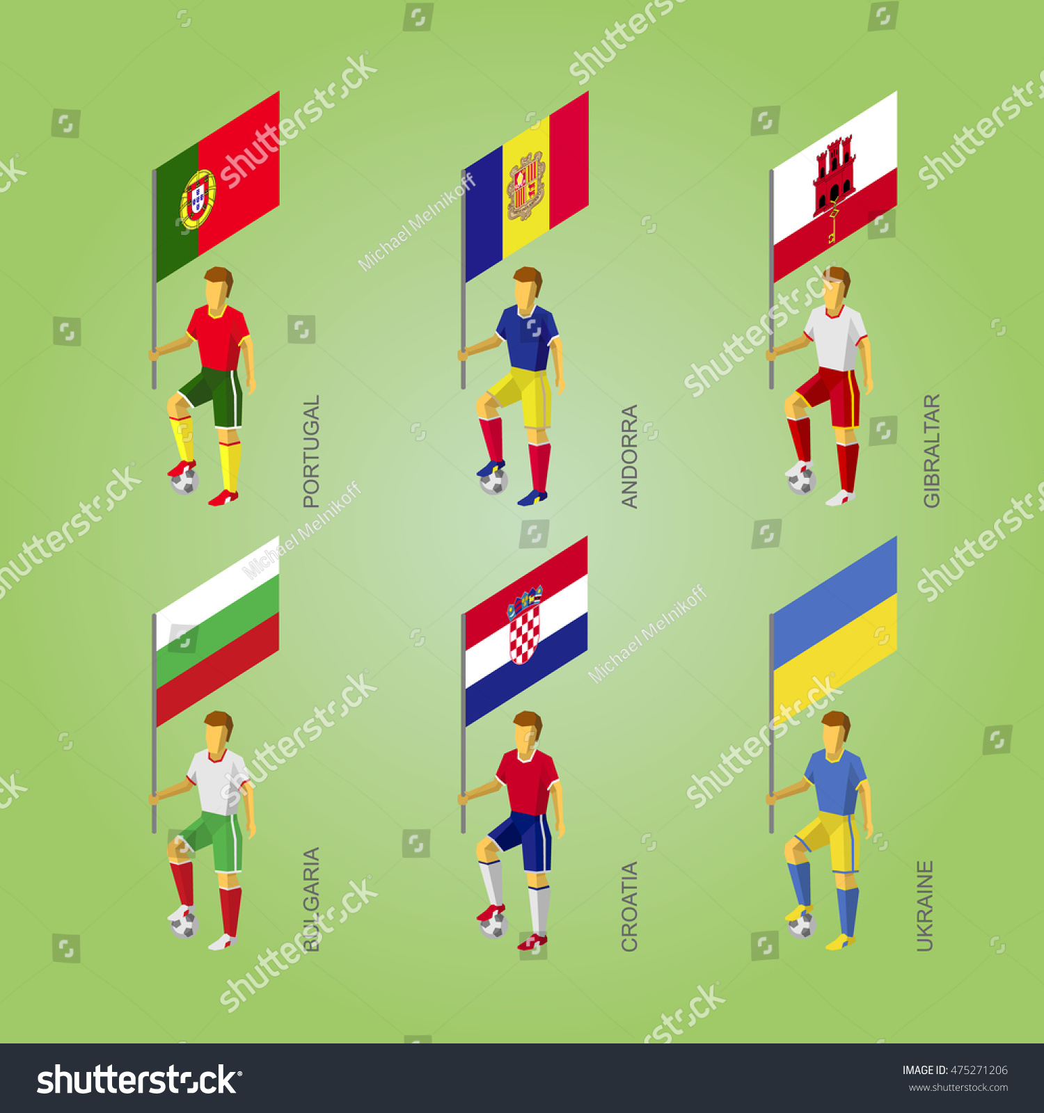 Set Isometric Football Players Flags Europe Stock Vector