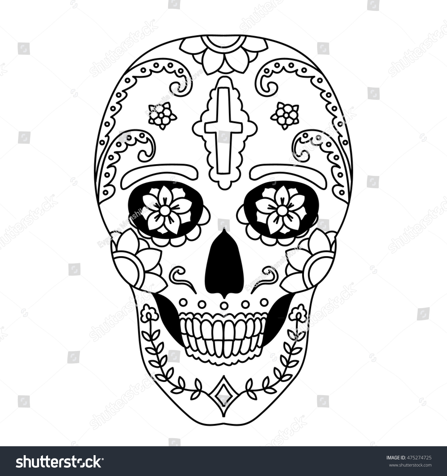 vector illustration sugar skull mexican symbol stock vector