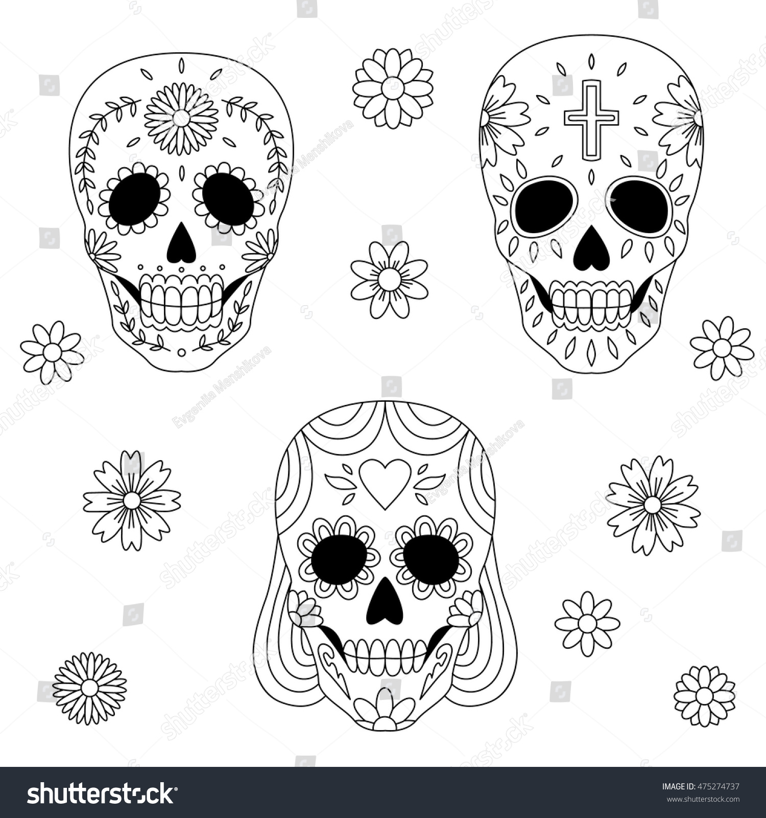 Vector Illustration Sugar Skull Mexican Symbol Stock Vector (Royalty ...