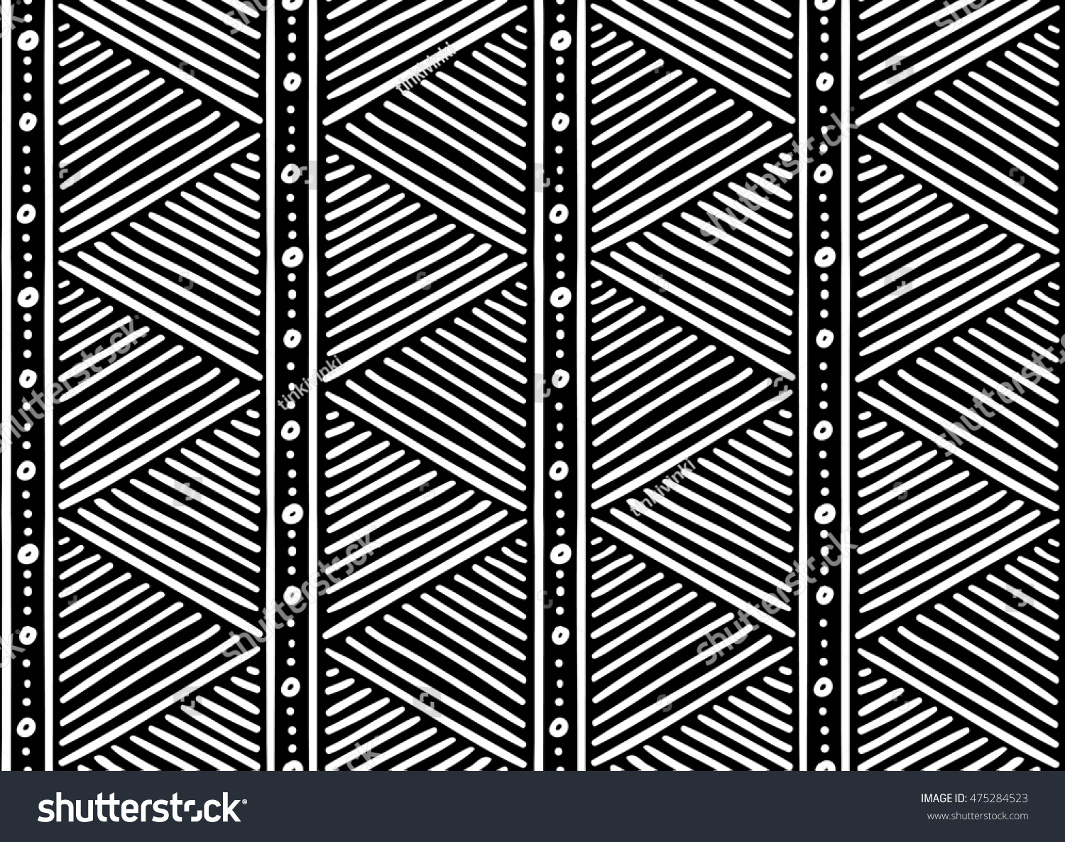 Tribal ethnic seamless african pattern black and white striped pattern
