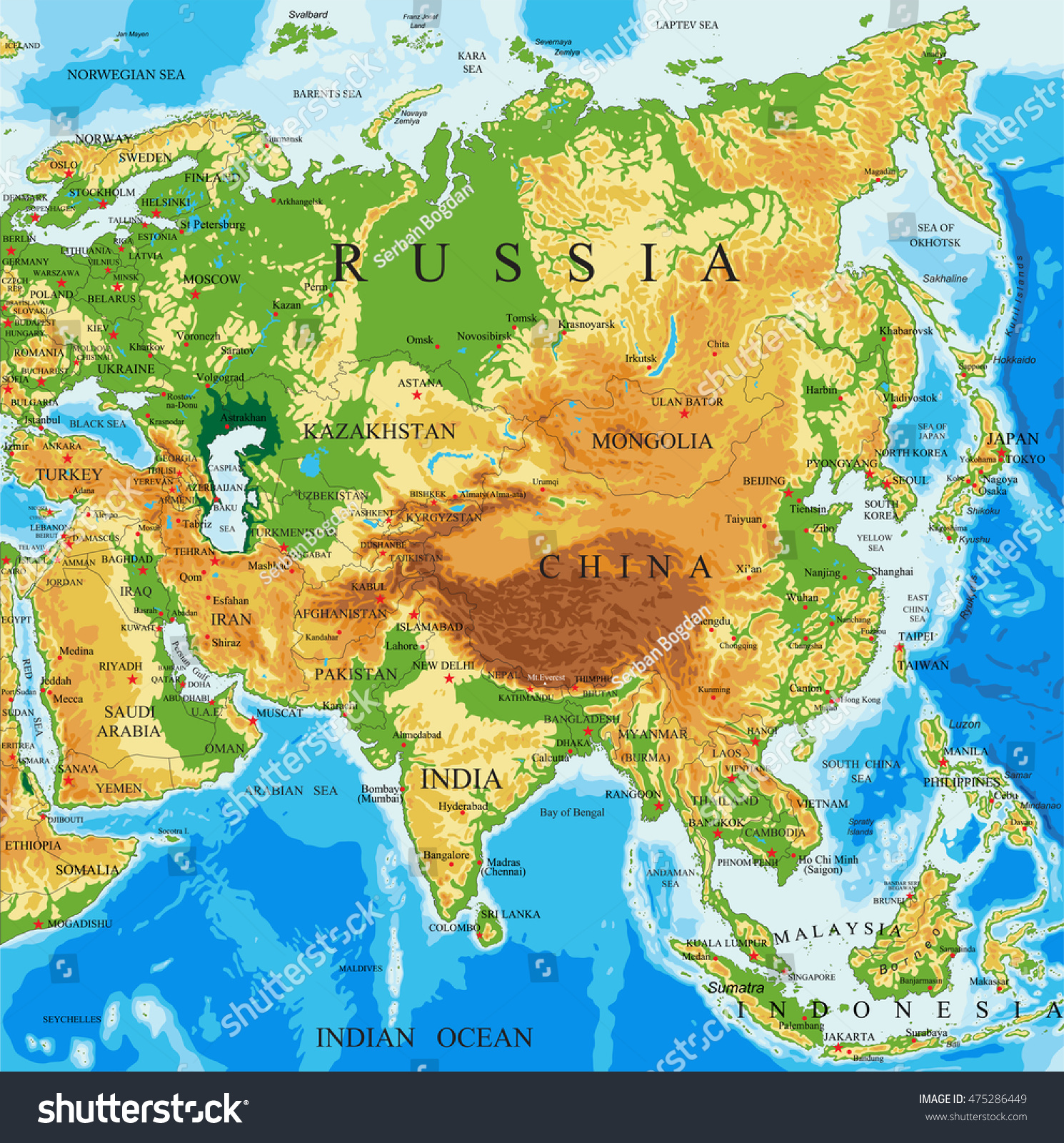 Physical Map Asia Stock Vector Shutterstock - Physical map of asia