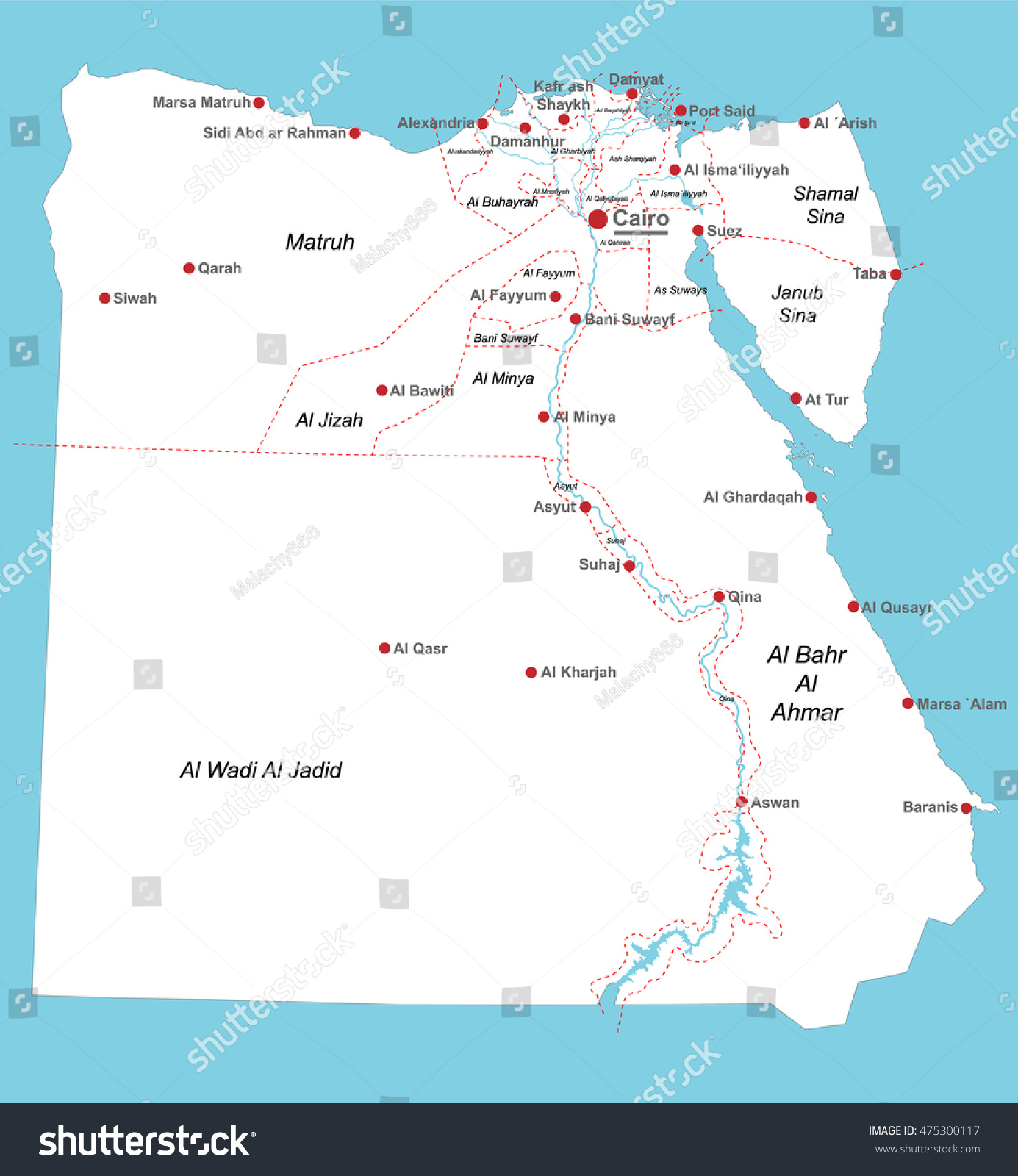 Large Detailed Map Egypt All Departments Stock Vector - Map of egypt with cities