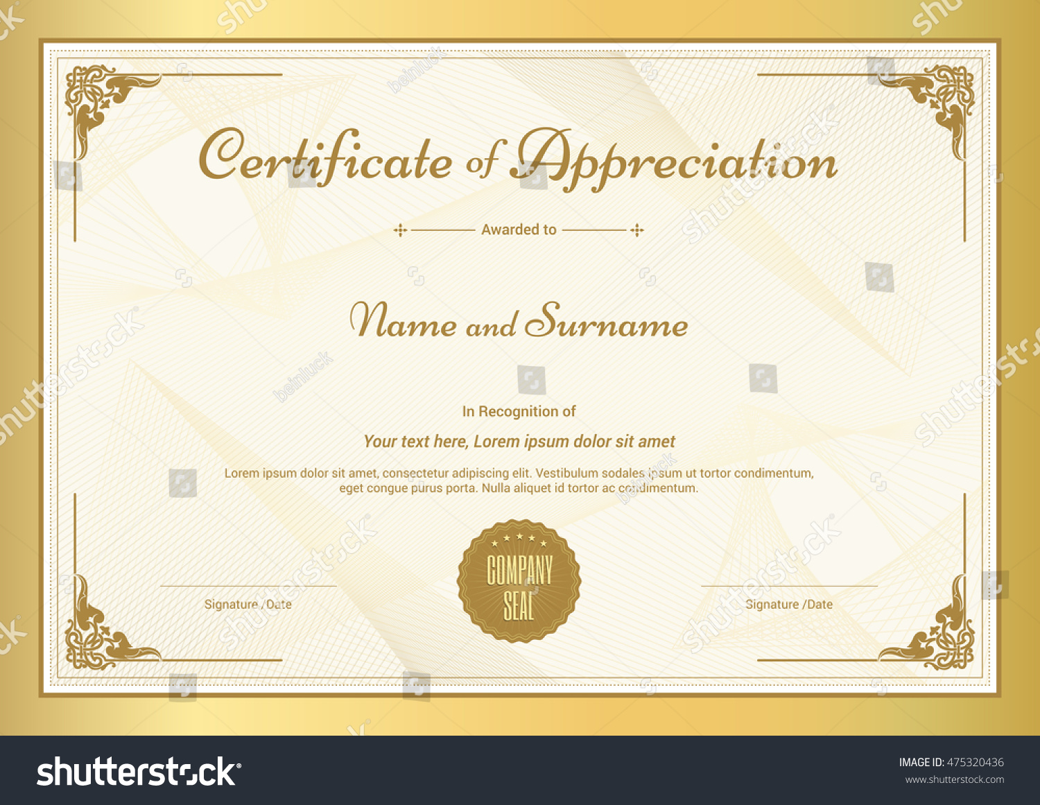 Certificate appreciation template vintage gold border certificate of appreciation template with vintage gold border yelopaper Image collections