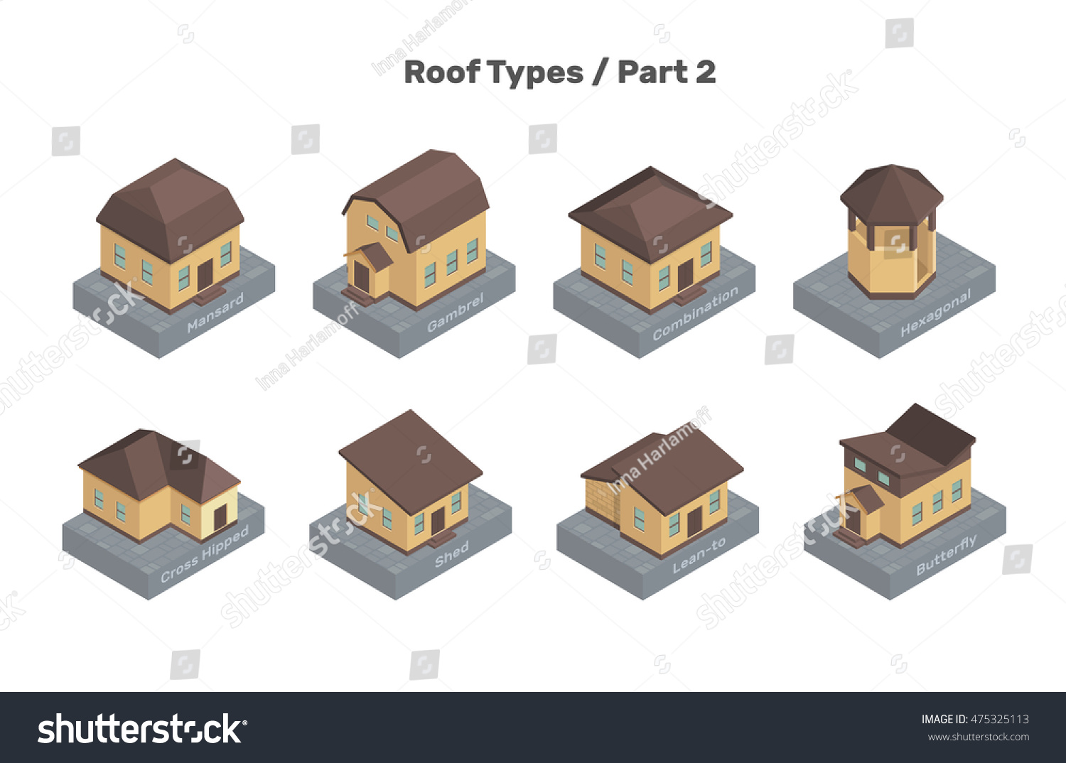 Roof types vector set colored isolated stock vector for Types of roof covering materials