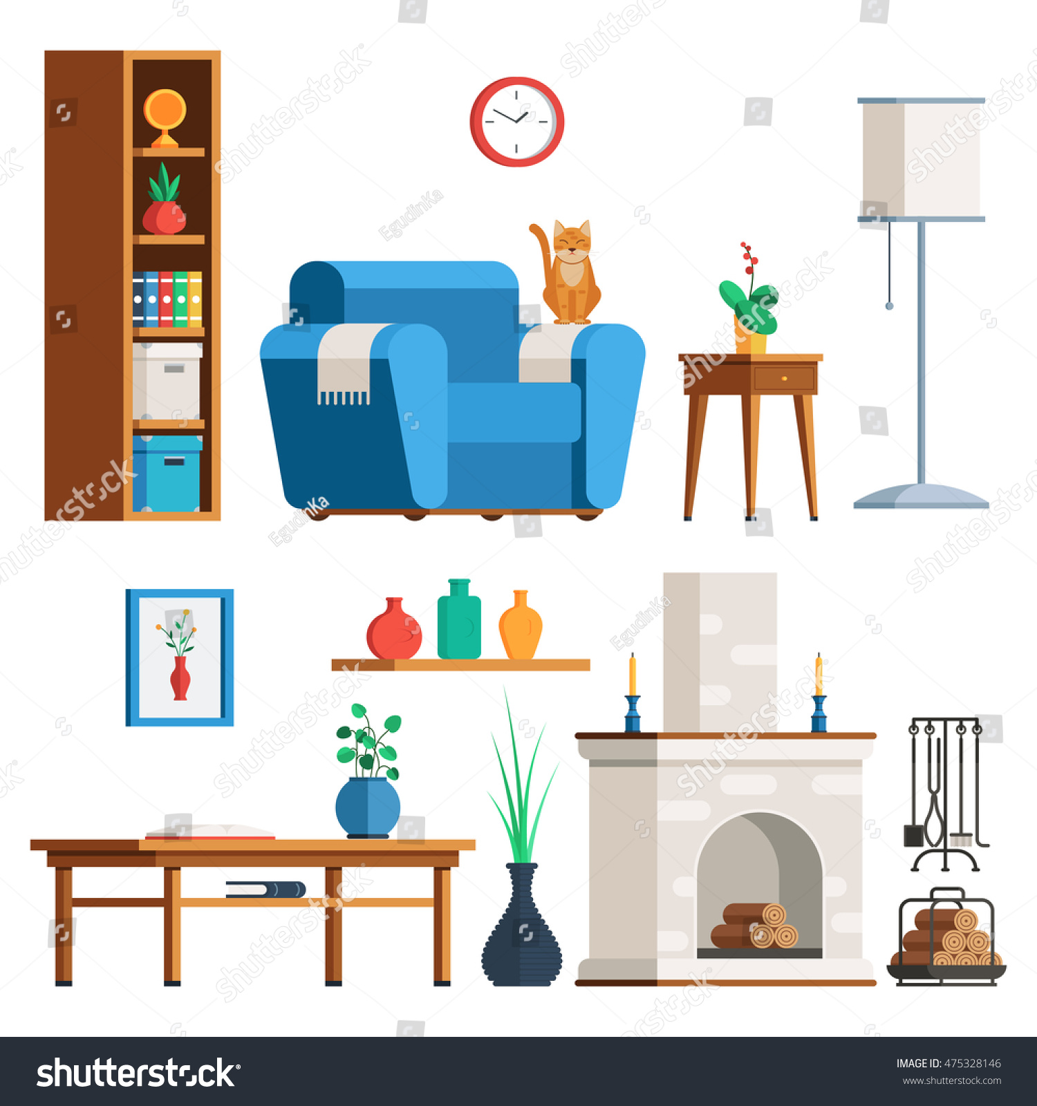 Furniture Interior Set Living Room Lamp Stock Vector