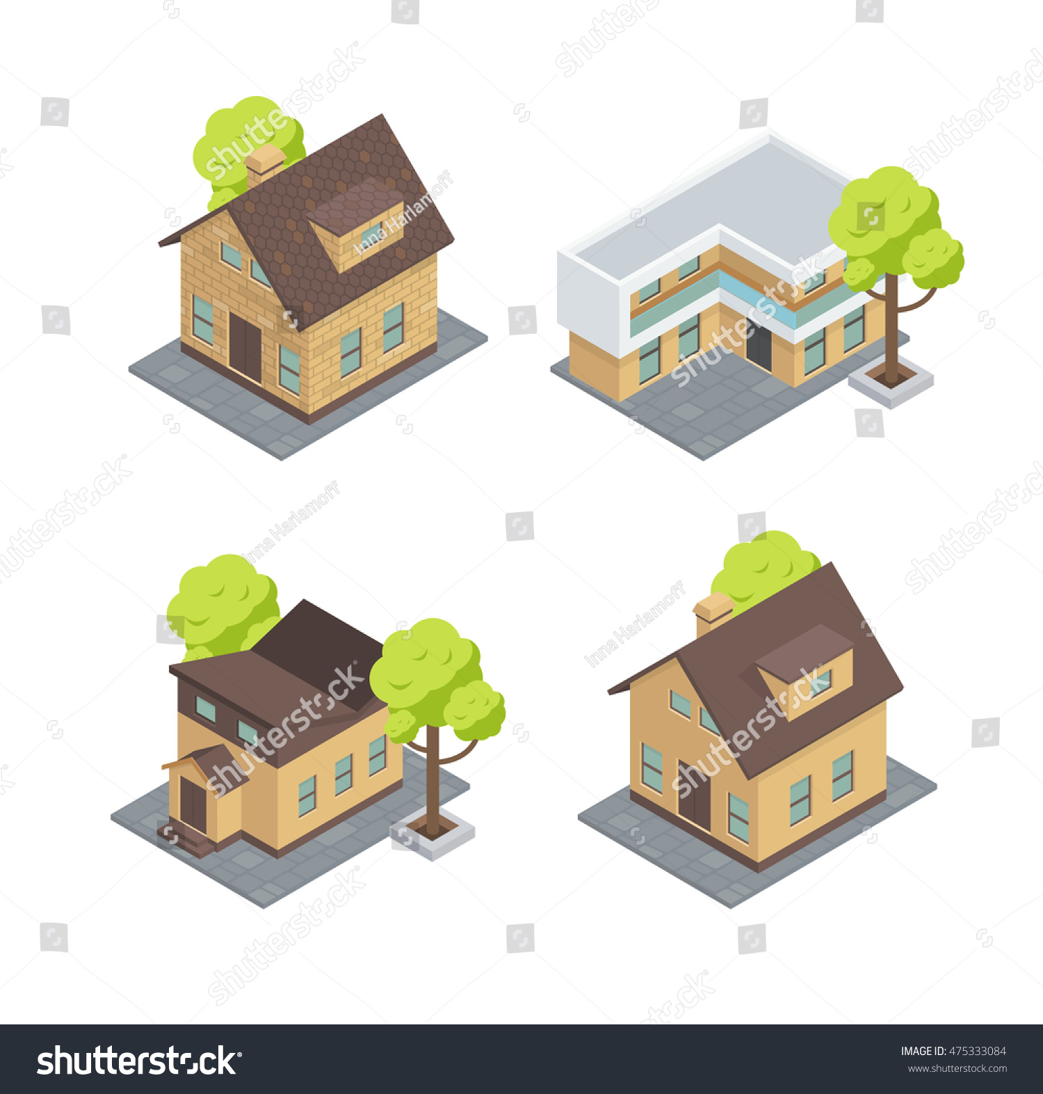 Different types houses there cottages trees stock vector for Types of homes to build
