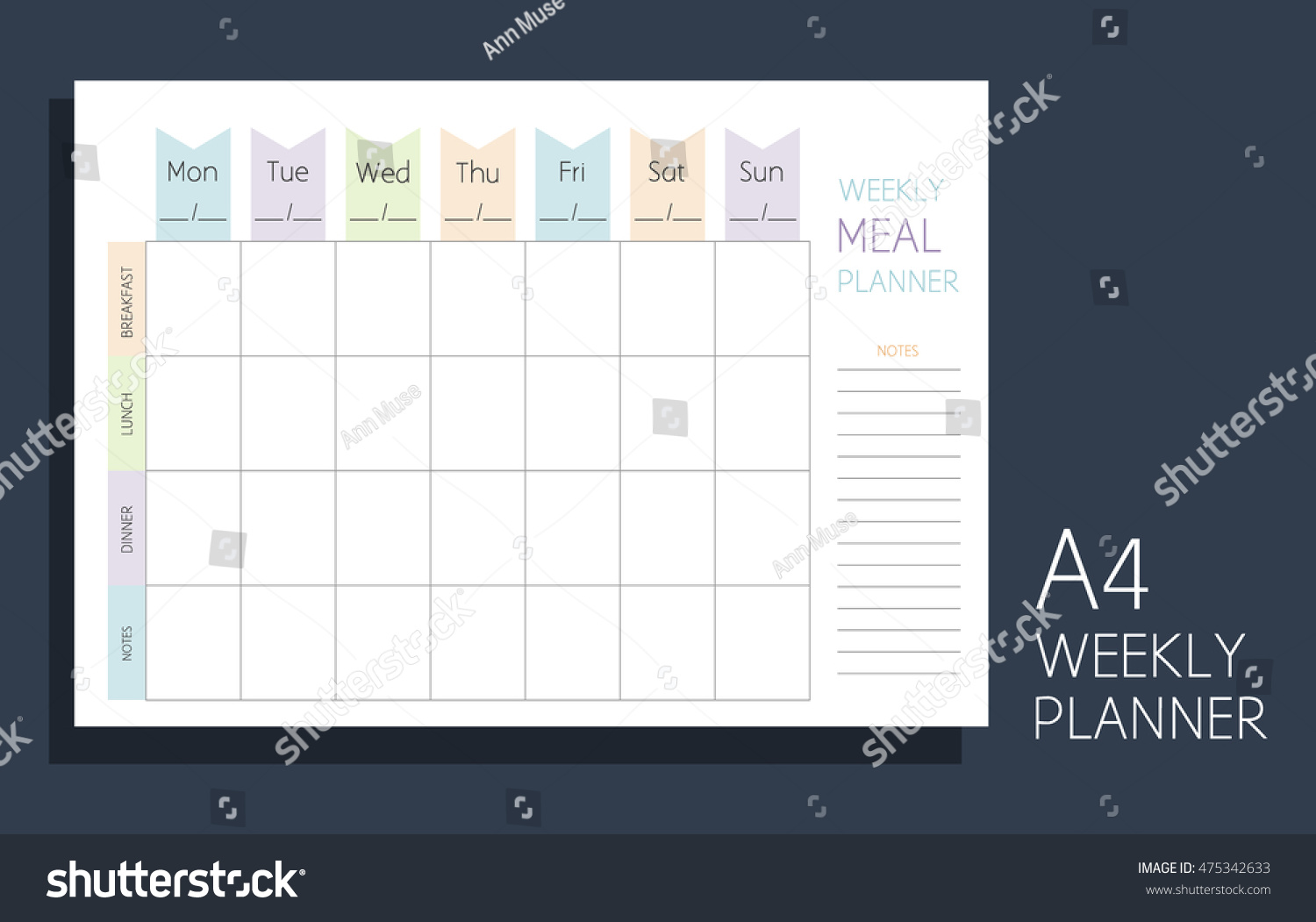 Weekly Meal Planner Horizontal Blank Form Stock Vector