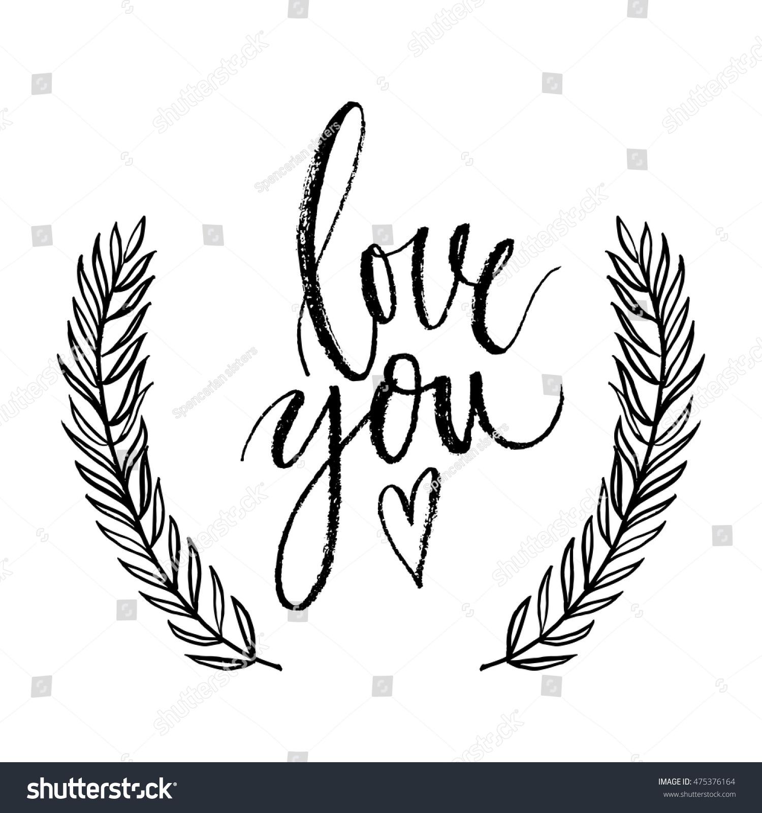 Love You Vector Hand Written Brush Stock Vector