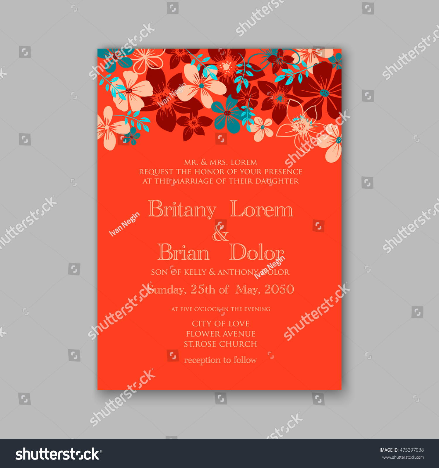 Wedding Invitation Template Card Tropical Floral Stock Vector HD ...