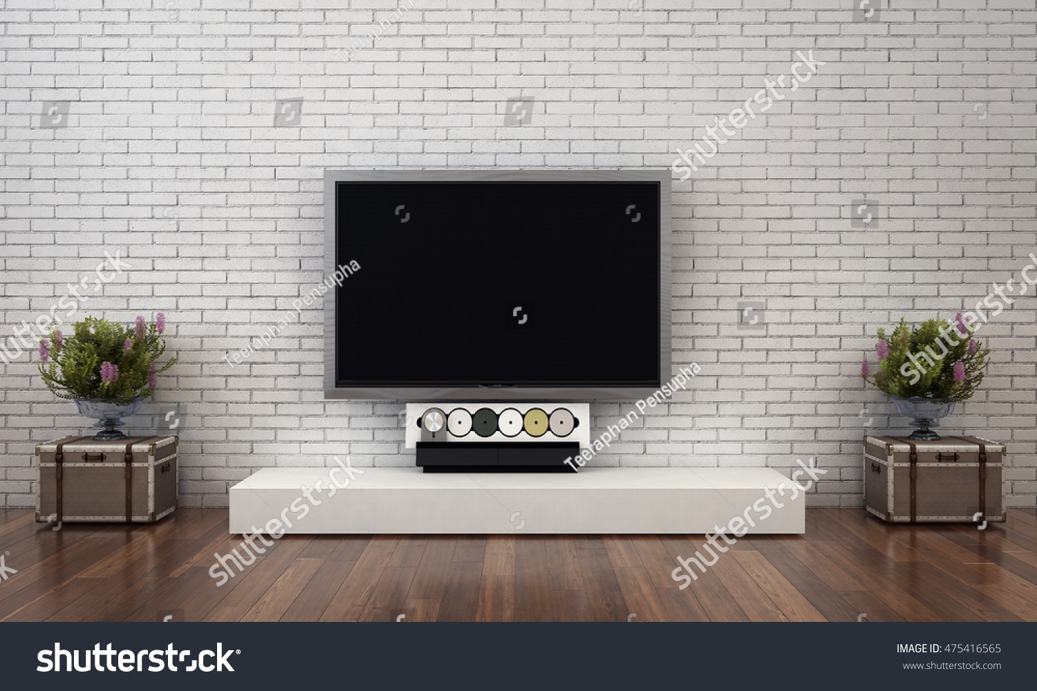 Lcd Tv White Brick Wall Stock Illustration 475416565