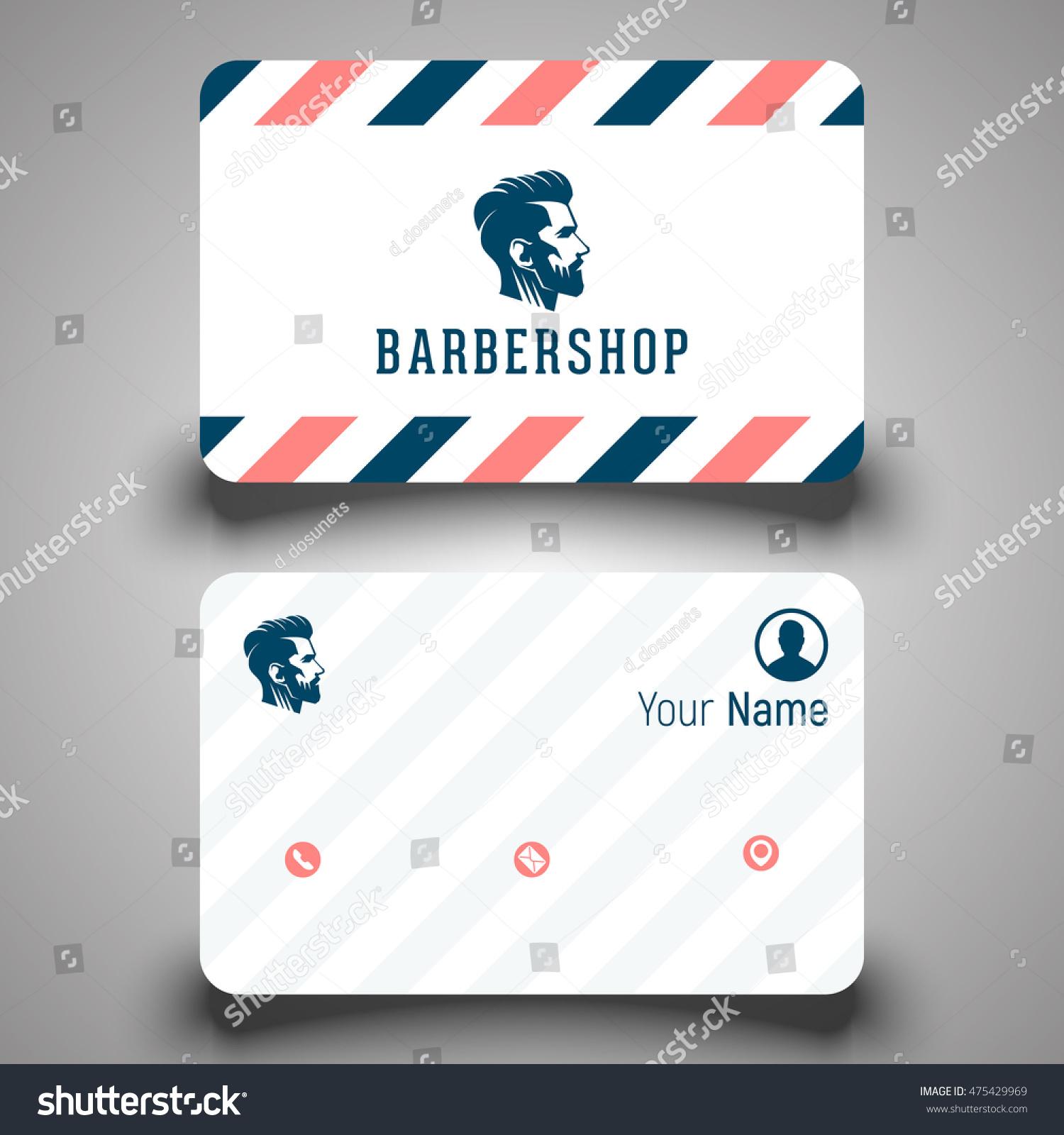 Business Card Barber Shop Logo Vector Stock Vector