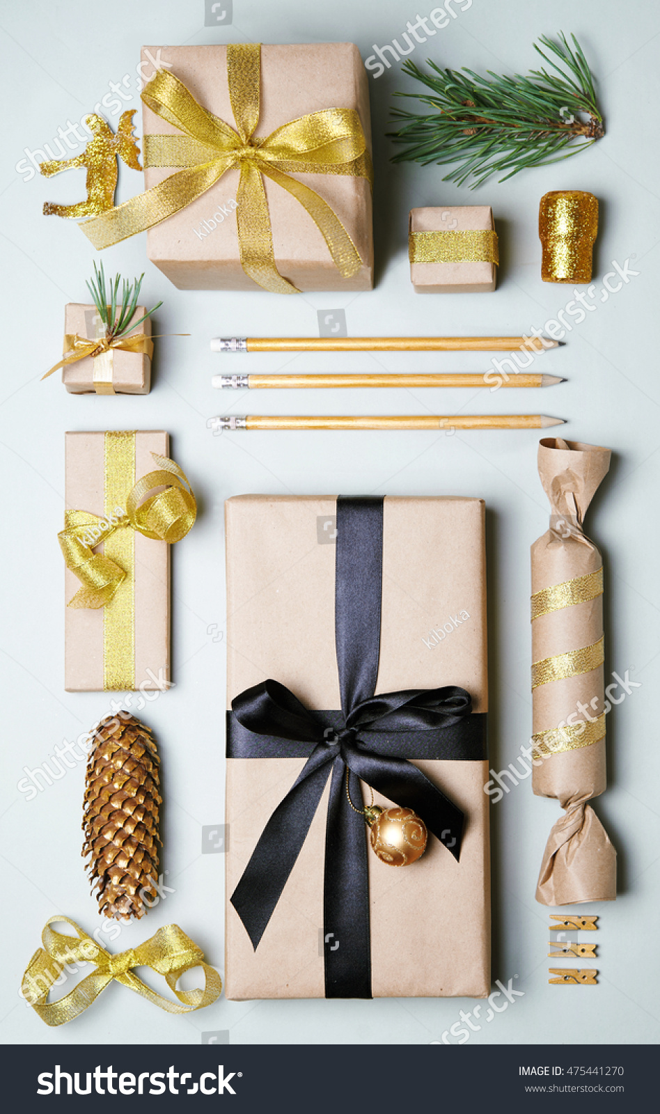 Christmas Gift Boxes Wrapped Craft Paper Stock Photo (Edit Now ...