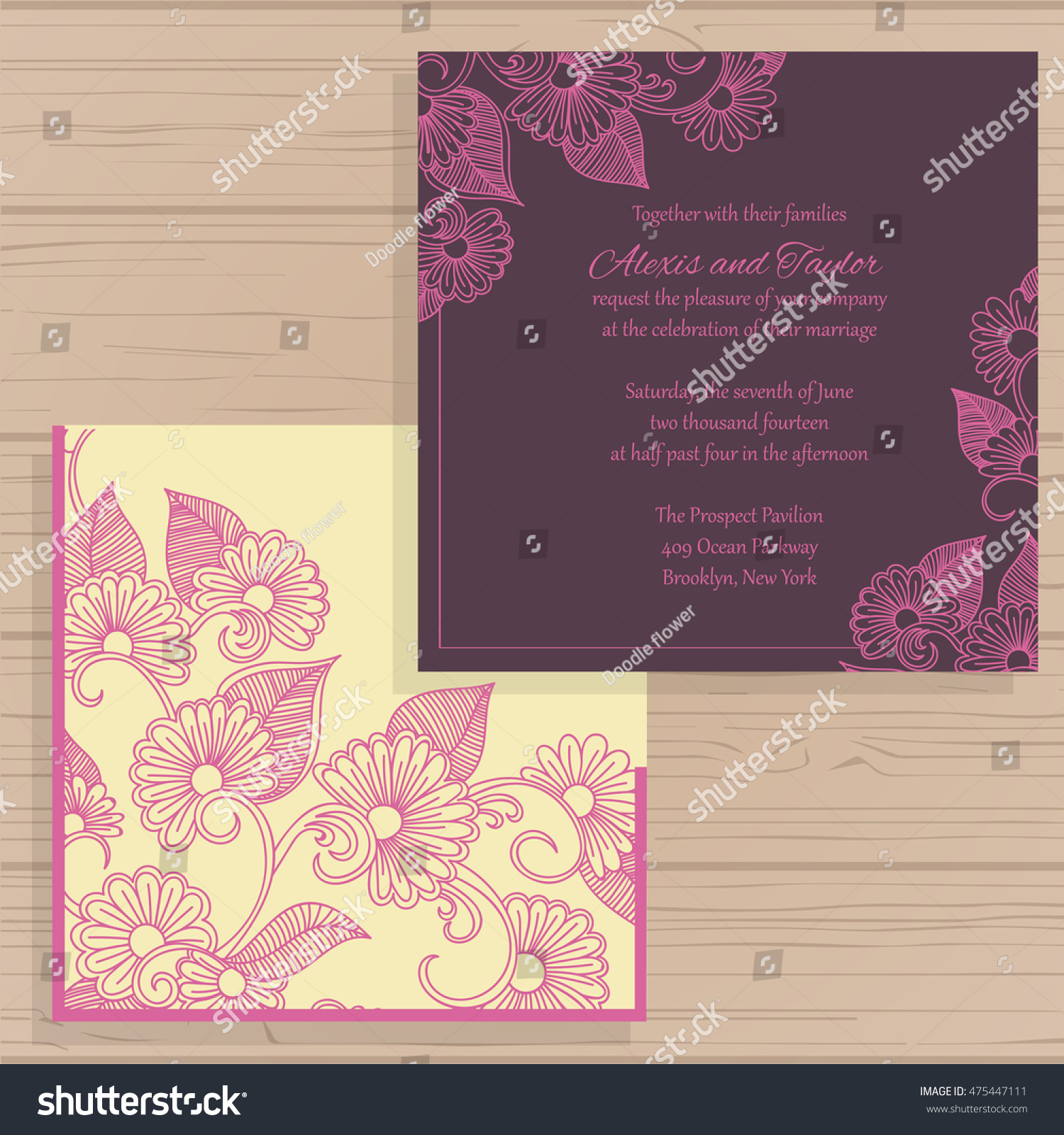 wedding invitation greeting card flower ornament stock vector
