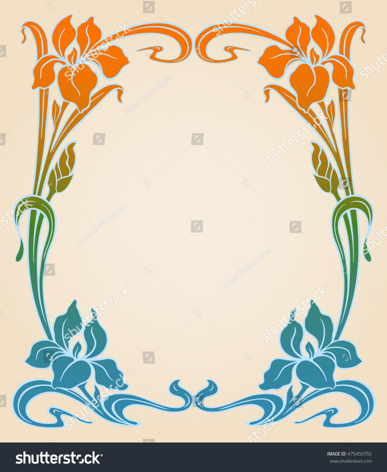 Vector art nouveau ornamental background with space for text
