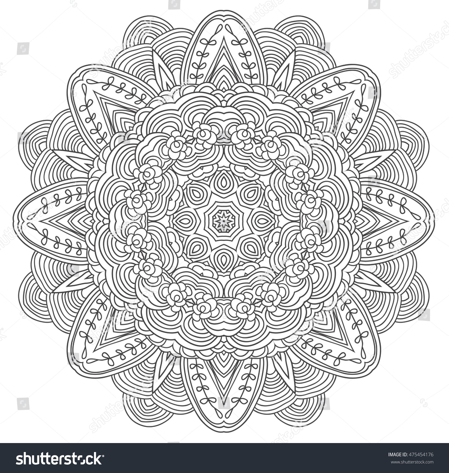 Black White Abstract Pattern Leaves Flowers Stock Vector