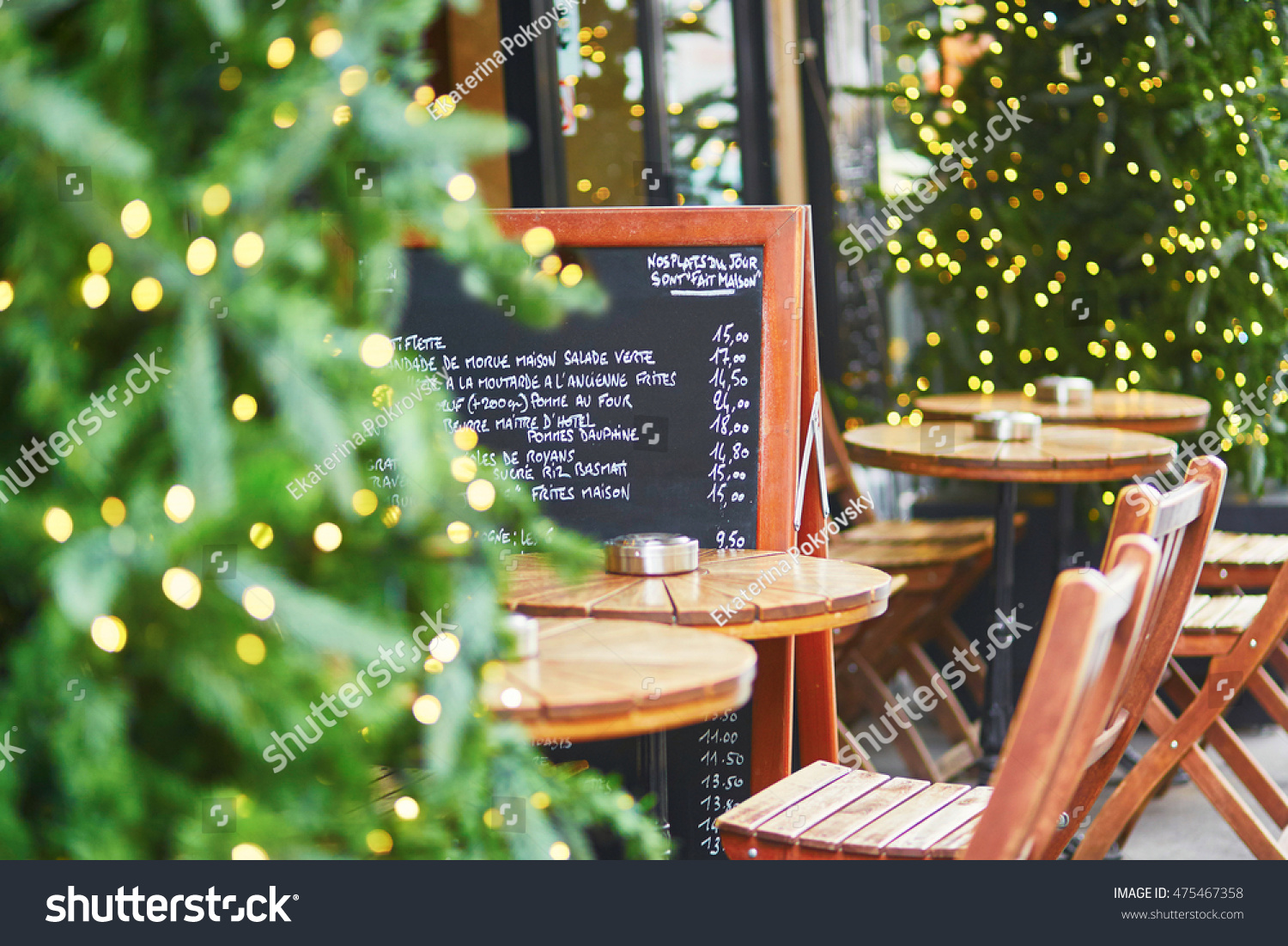 outdoor cafe on street paris decorated stock photo 475467358