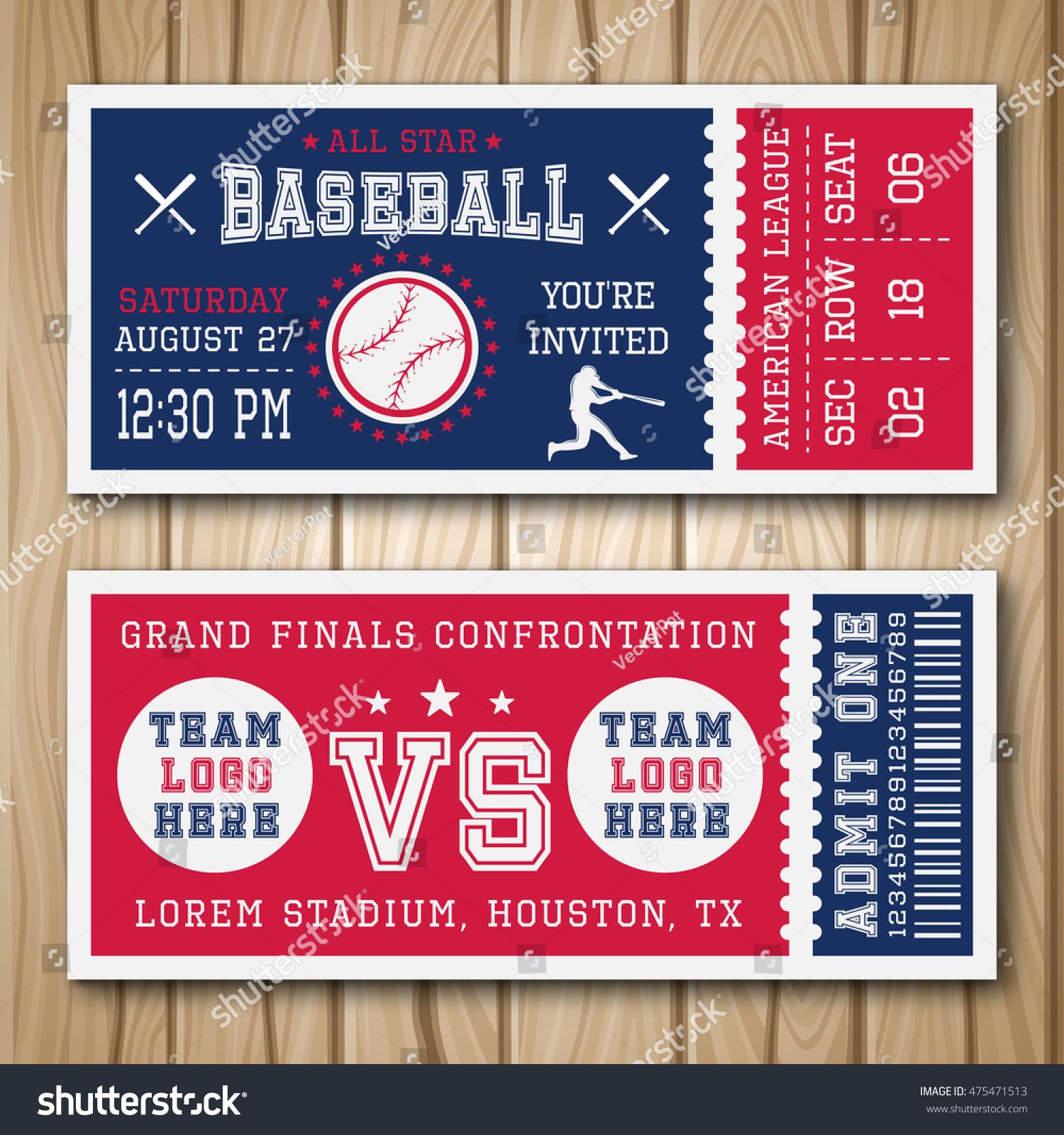 Baseball Blue Red Tickets Sports Equipment Stock-Vektorgrafik ...