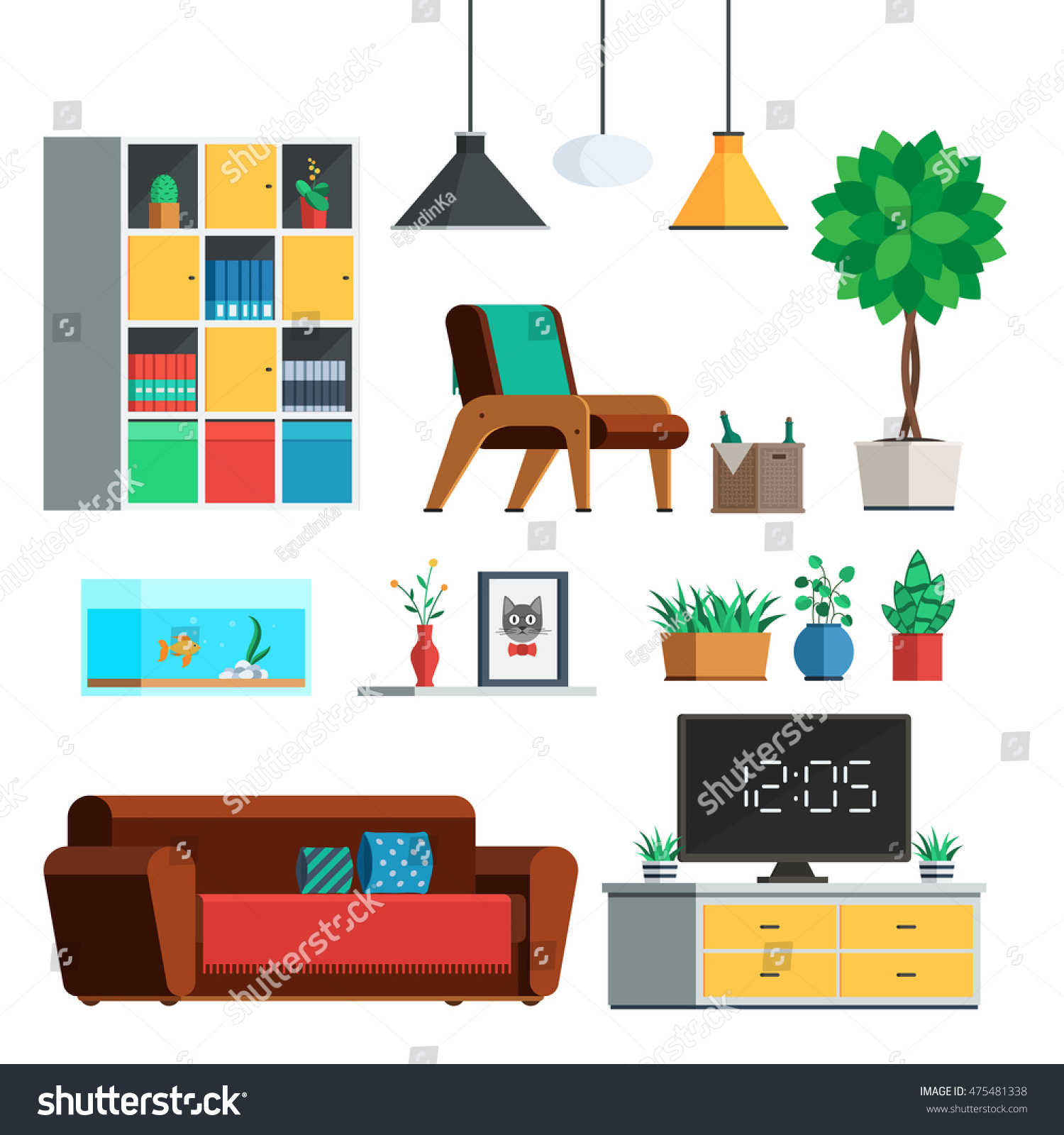 Vector Of Living Room Stock Vector Image Of Sofa: Furniture Interior Set Living Room Lamp Stock Vector