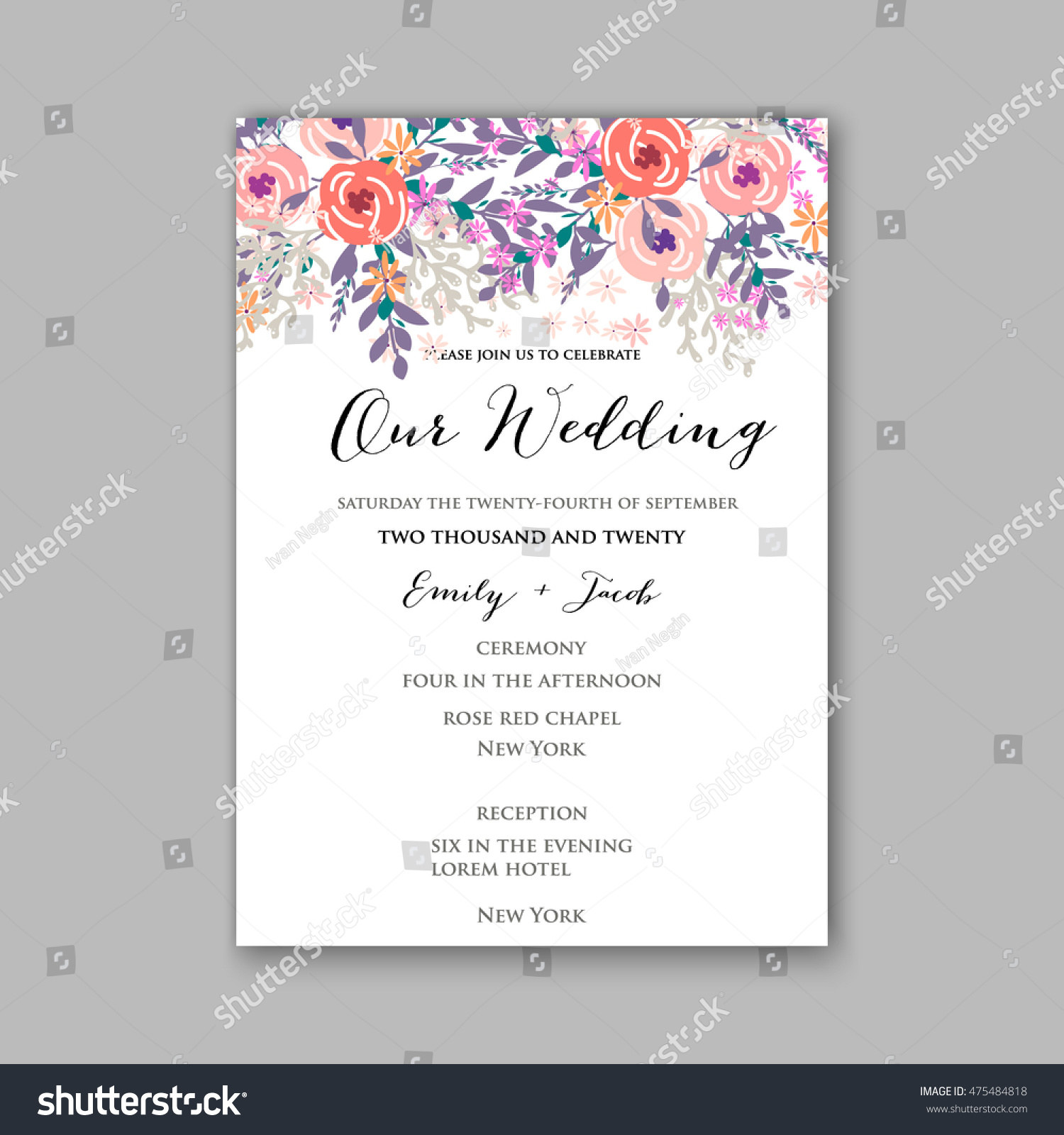 Wedding Invitation Card Tropical Floral Background Stock Vector ...