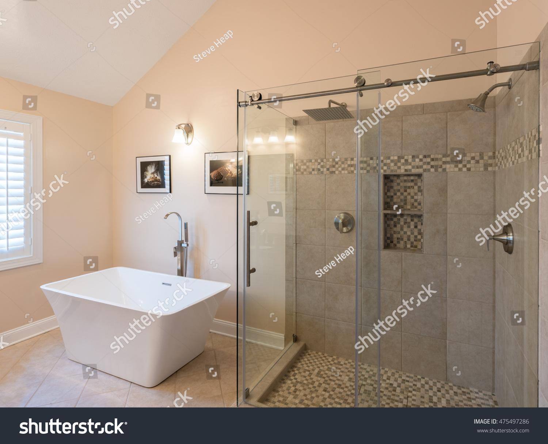 Interior Modern Bathroom Standalone Tub Bath Stock Photo (Edit Now ...