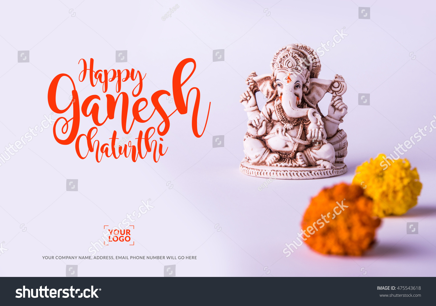 Happy ganesh chaturthi greeting card showing stock photo edit now happy ganesh chaturthi greeting card showing photograph of lord ganesha idol m4hsunfo