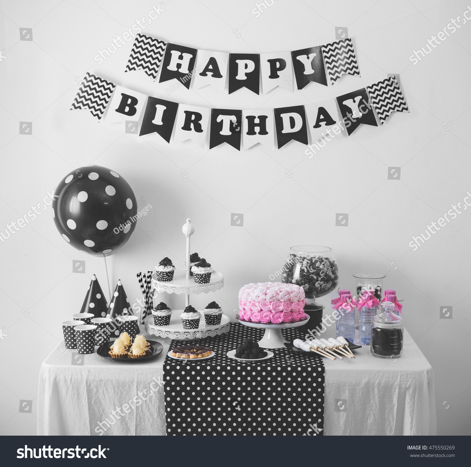 Portrait Of Black And White Birthday Party Decoration With Full Cake Sweet Candy
