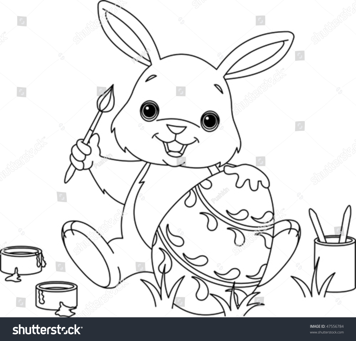 Coloring Page Easter Bunny Painting Egg Stock Vector