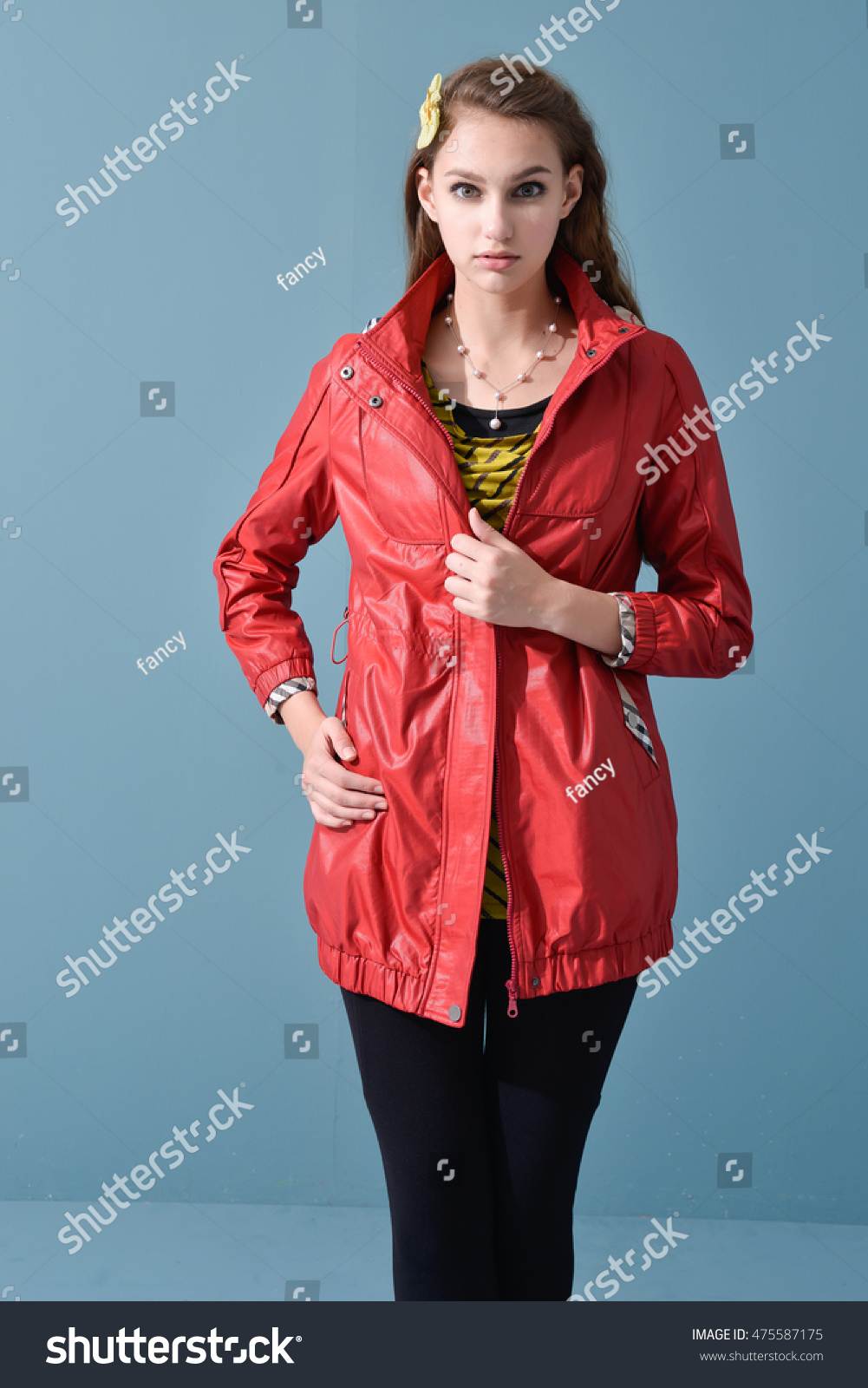 Portrait Young Model Red Jacket Dress Stock Photo 475587175 ...