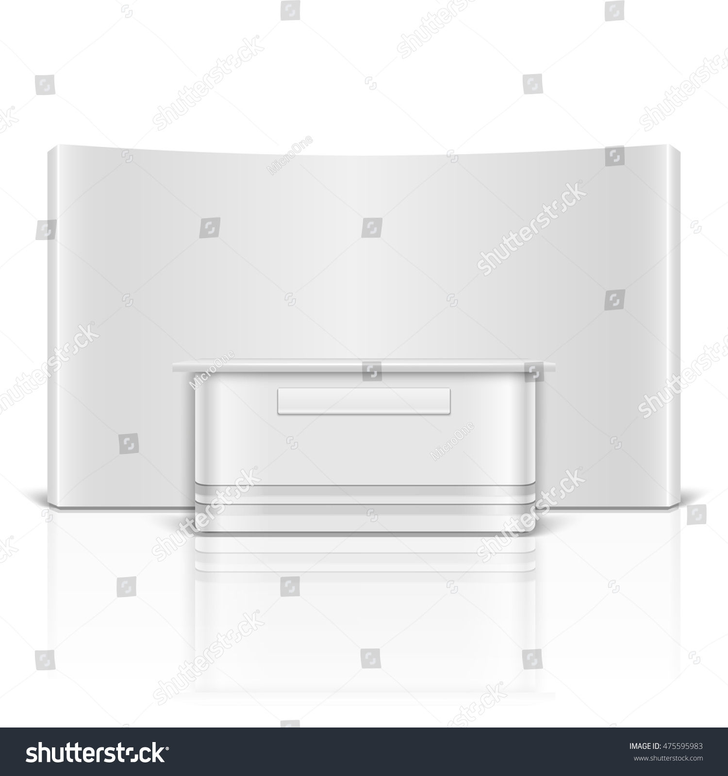 Marketing Exhibition Stand Vector : Blank exhibition retail stand counter isolated stock