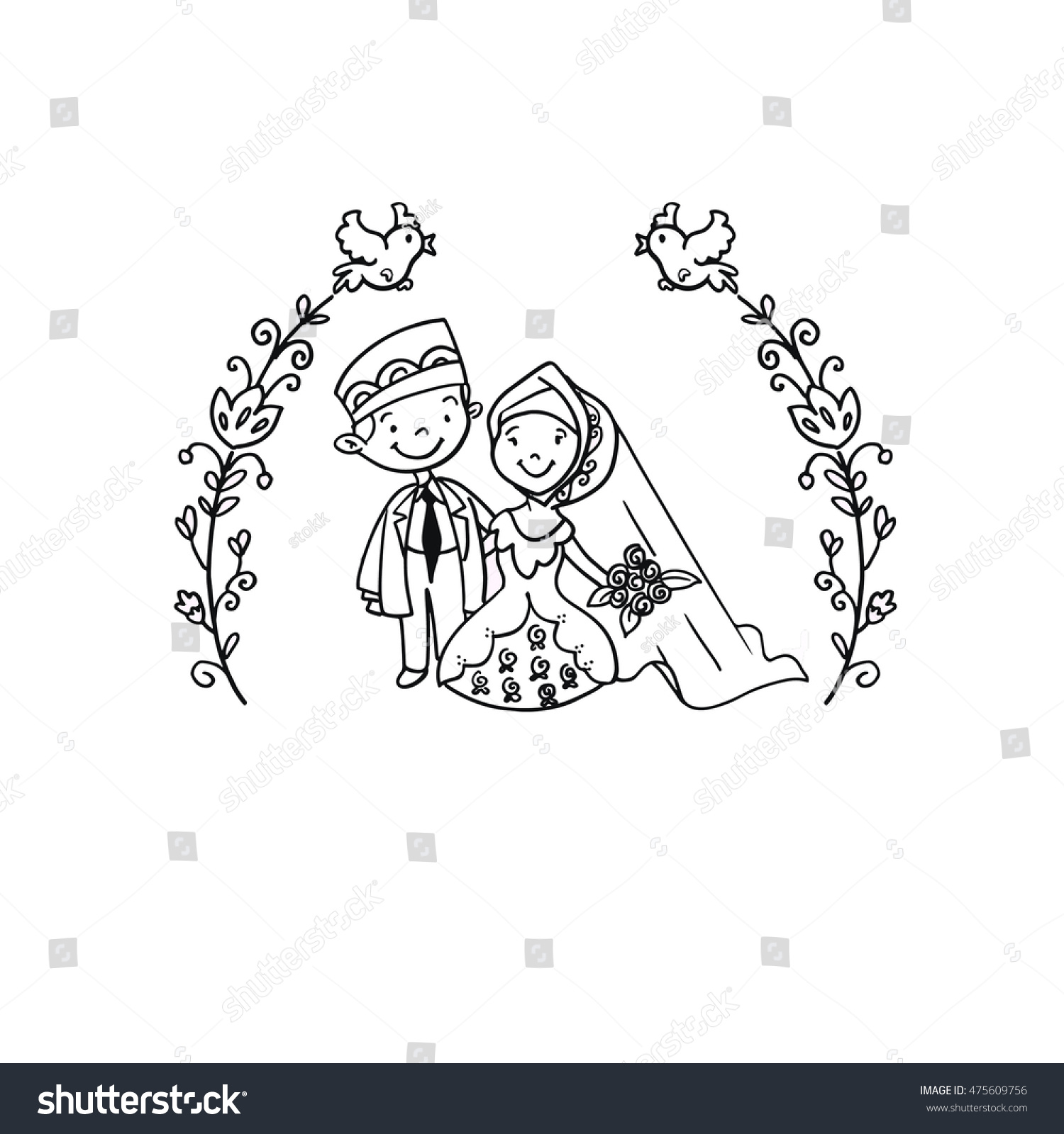 Islamic wedding couple doodle illustration