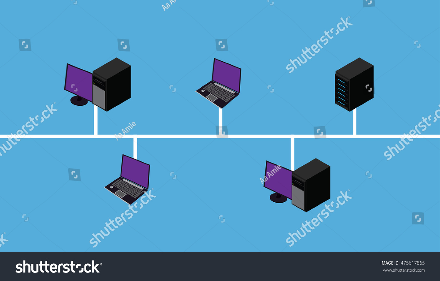 Network Connection Lan Wan Topology Stock Vector (Royalty Free ...