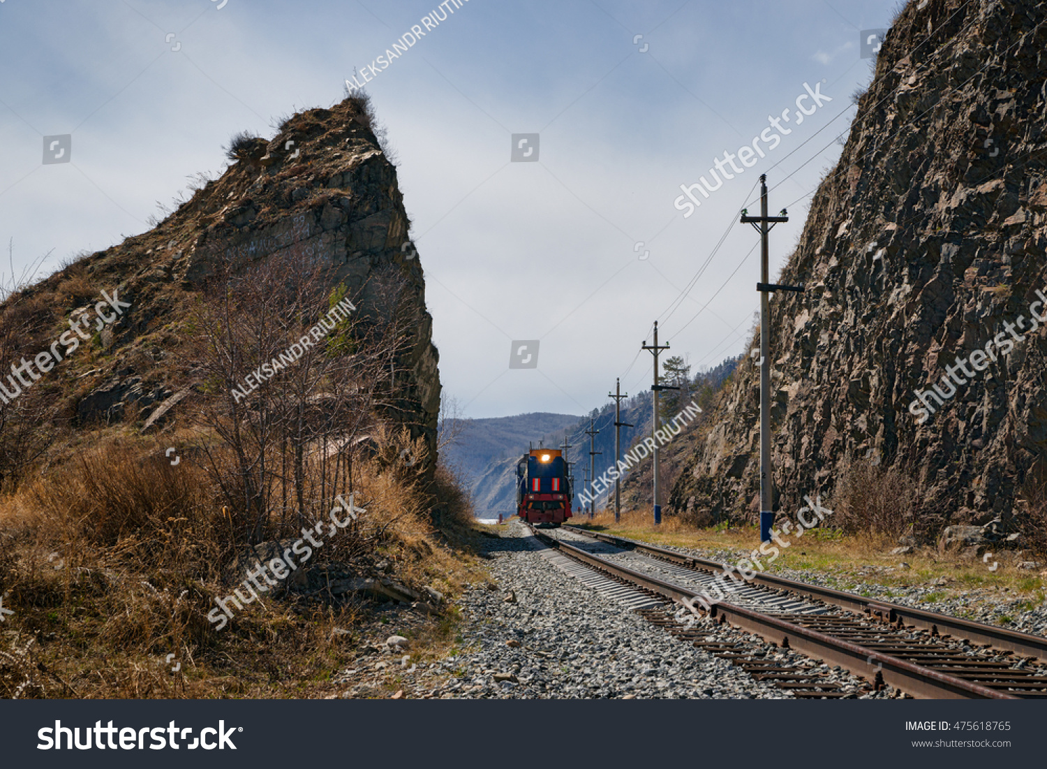 Train in the rocks Circum-Baikal Railway