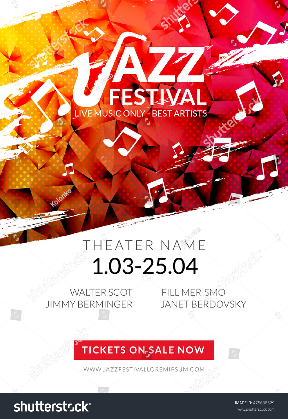 Great Vector Musical Flyer Jazz Festival. Music Poster Background Festival  Brochure Flyer Template