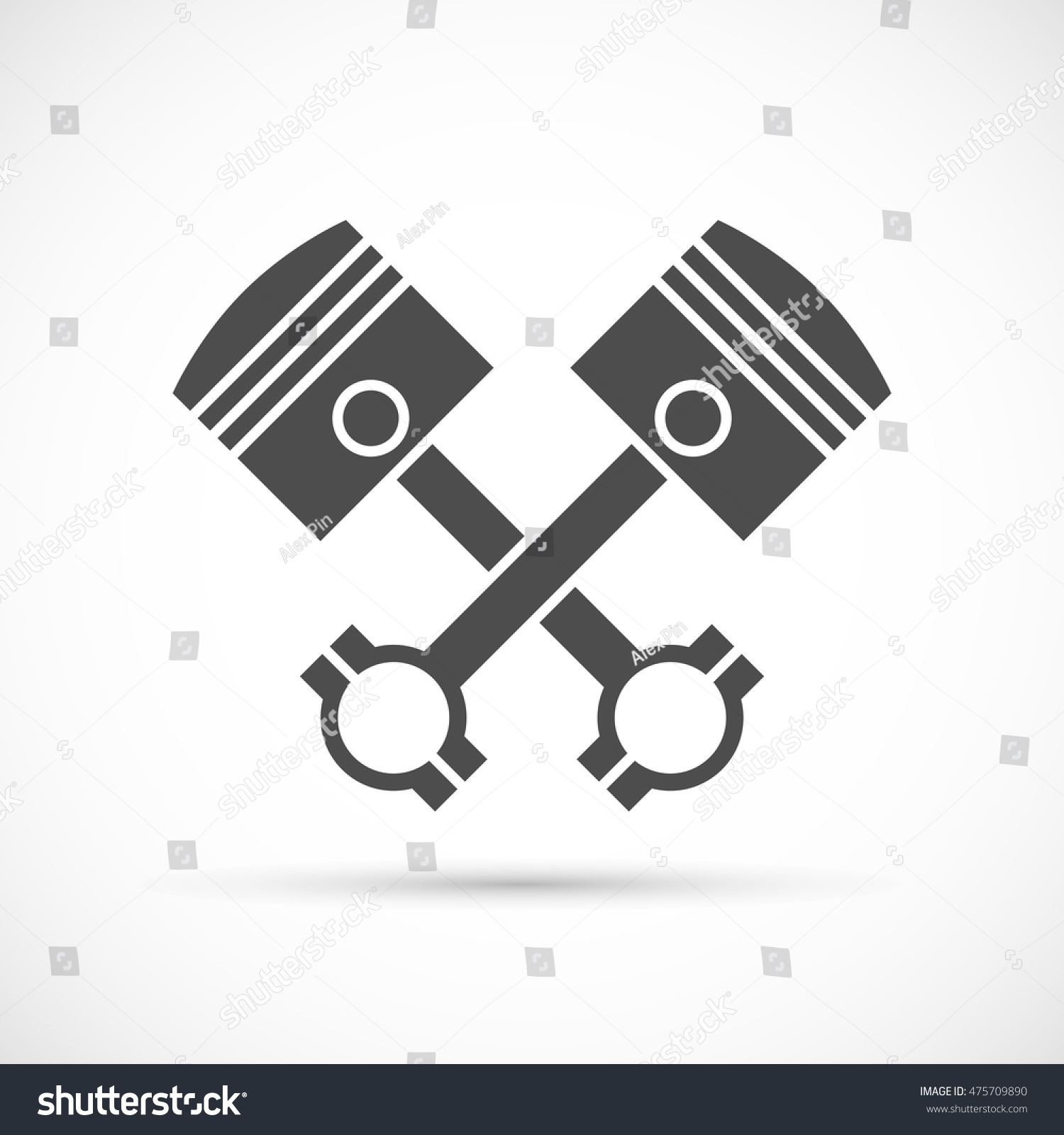 Crossed Engine Pistons Icon Stock Vector Royalty Free 475709890 Diagram Schedule
