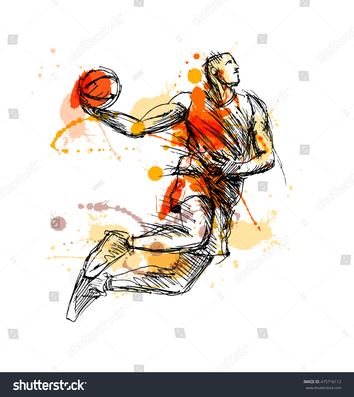 Colored Hand Sketch Basketball Player Vector Stock Vector 475716112 - Shutterstock