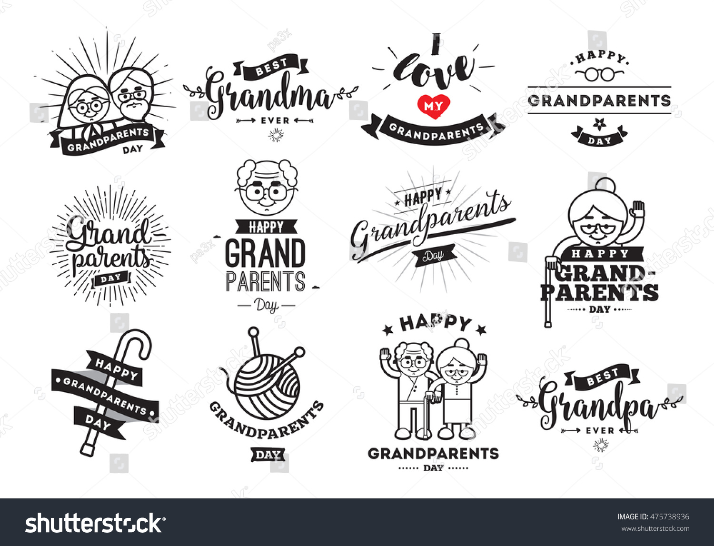 Happy grandparents day typographic emblems logo stock vector happy grandparents day typographic emblems logo set grandma and grandpa vector illustration design kristyandbryce Choice Image