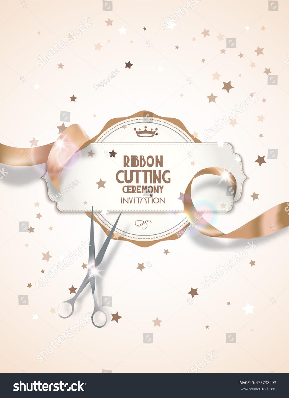 Ribbon Cutting Ceremony Invitation Card Beige Stock Vector