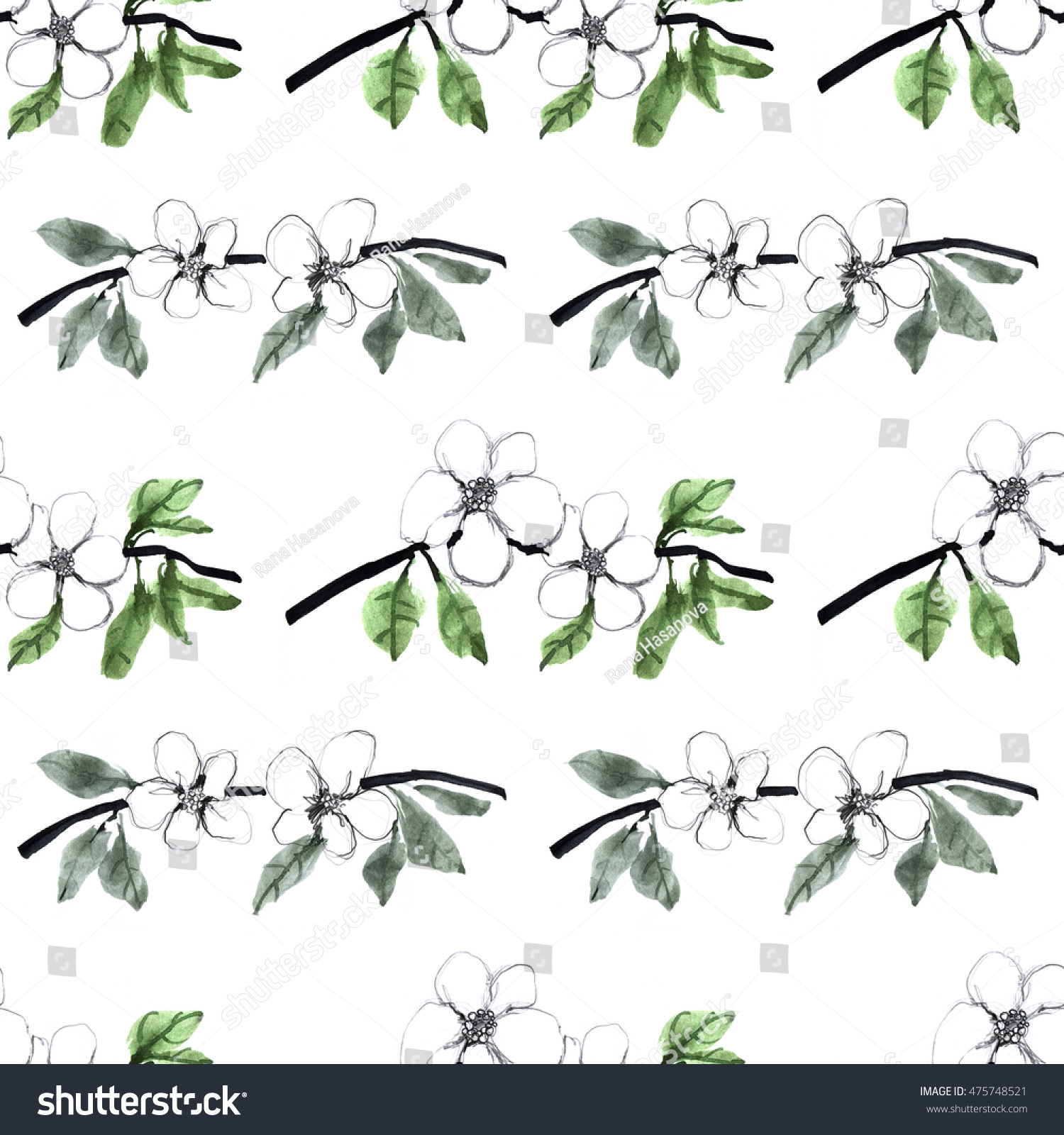 Pencil Watercolor Black And White Flower Seamless Pattern Hand