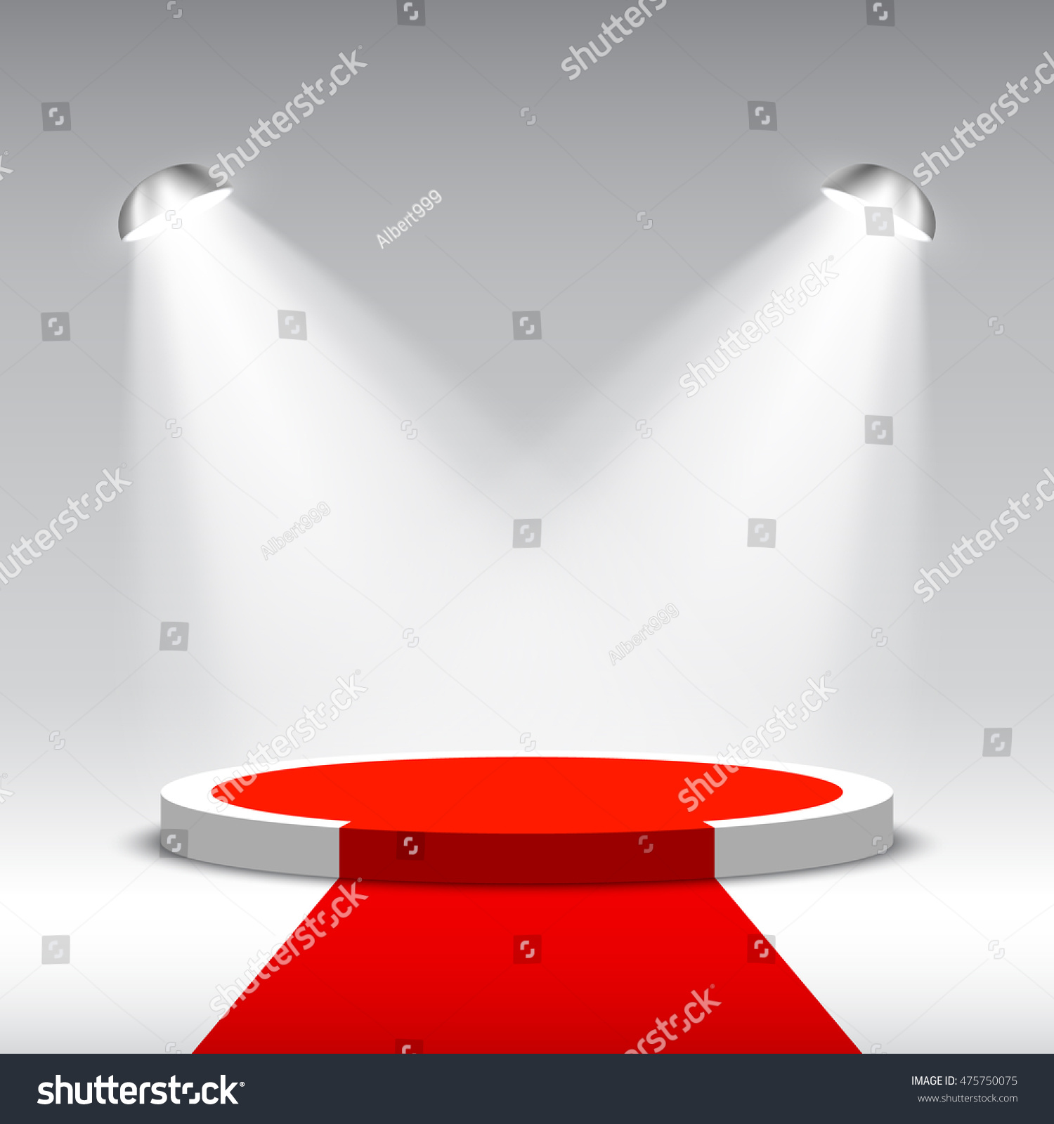 Stage for awards ceremony White round podium with red carpet Pedestal Scene Spotlight 3D Vector illustration