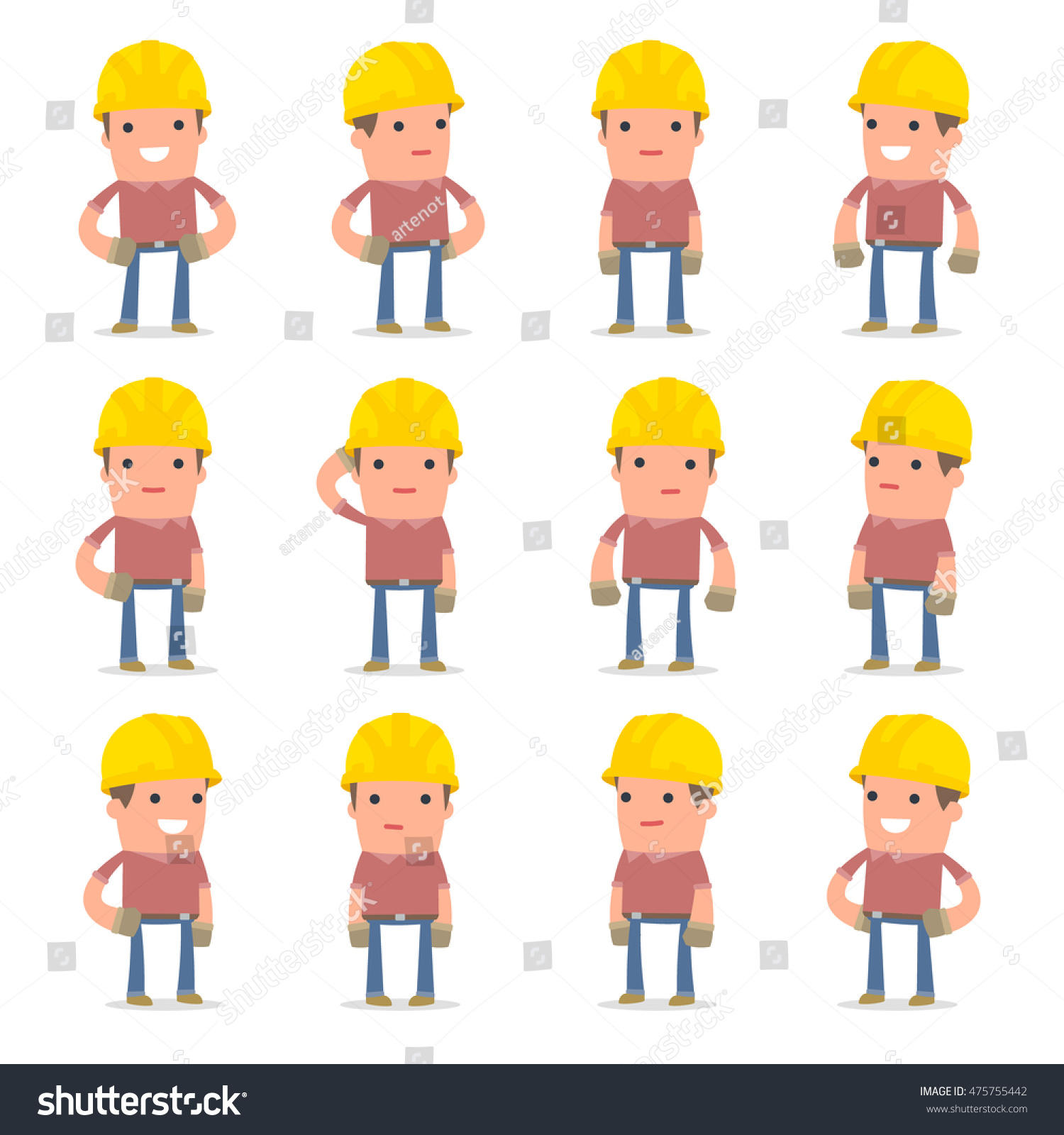 set happy cheerful character builder standing stock vector royalty